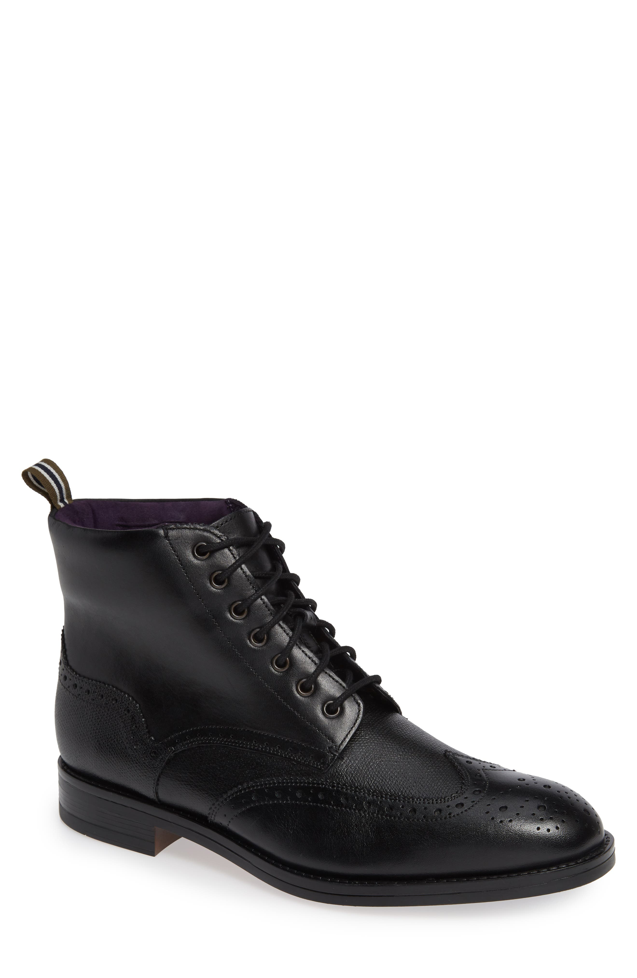 TED BAKER LONDON, Twrens Wingtip Boot, Main thumbnail 1, color, BLACK LEATHER