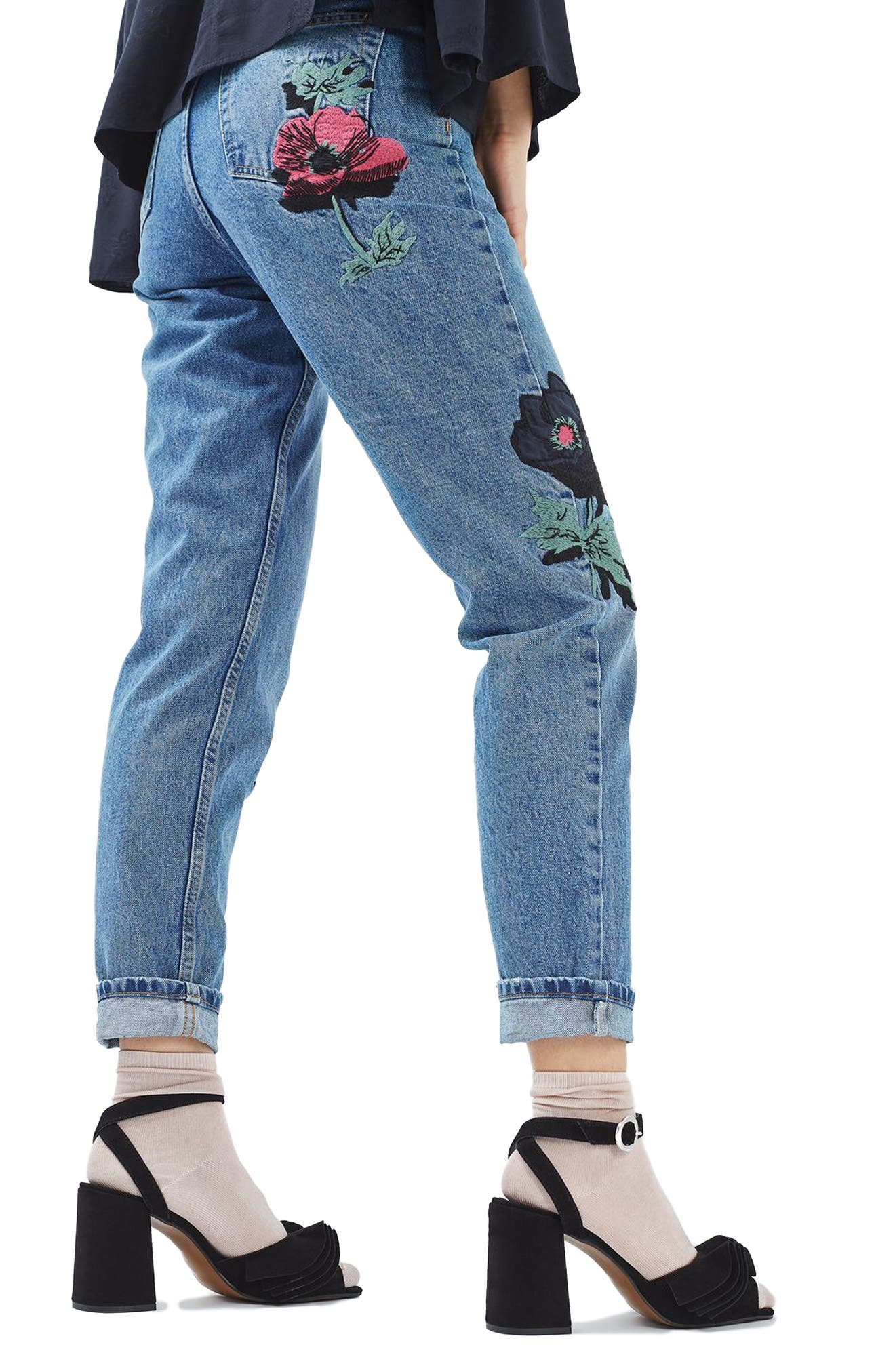 TOPSHOP, Floral Embroidered Mom Jeans, Alternate thumbnail 2, color, 400