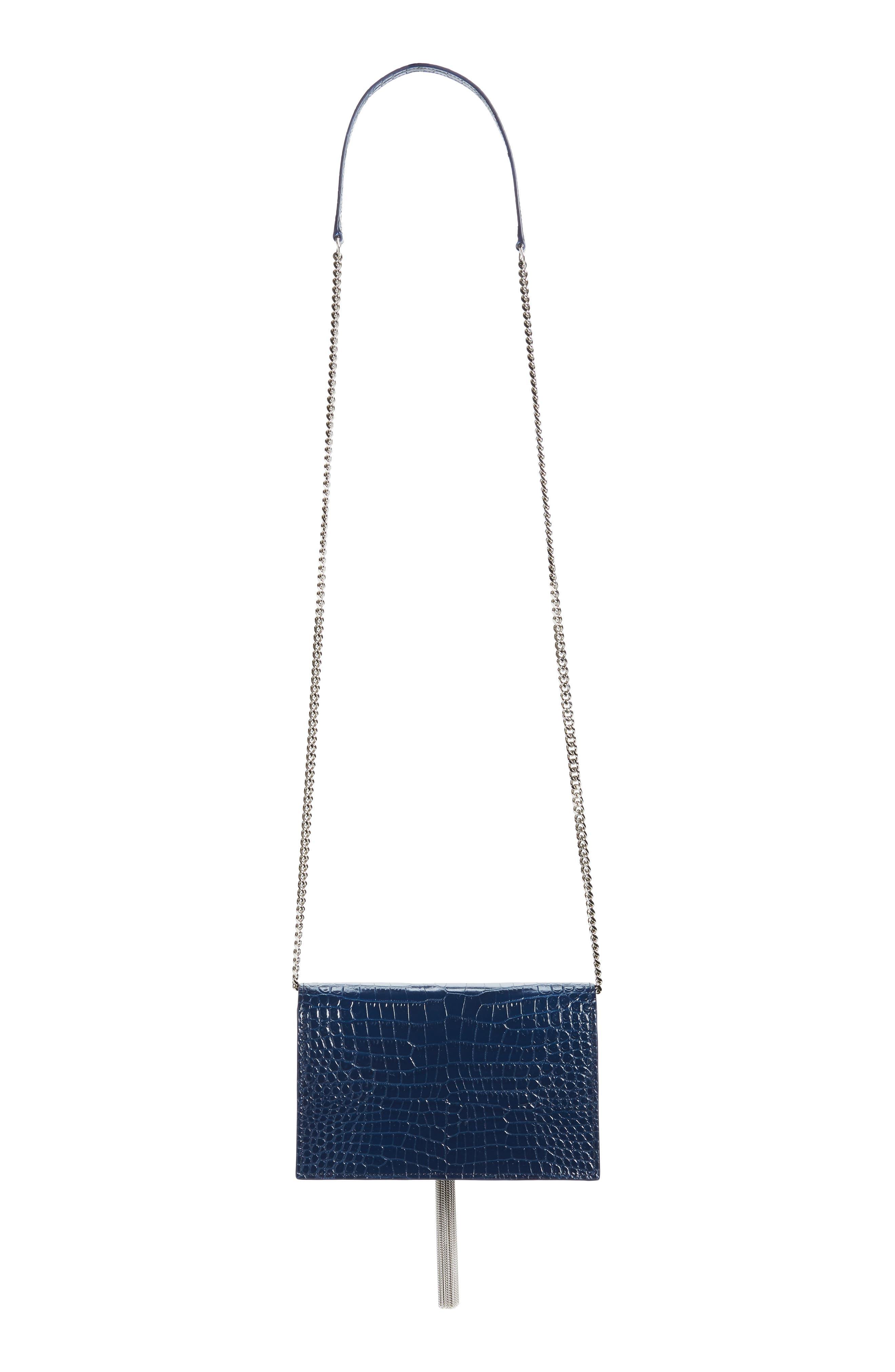 SAINT LAURENT, Kate Croc Embossed Leather Wallet on a Chain, Alternate thumbnail 4, color, DENIM BLUE/ DENIM BLUE