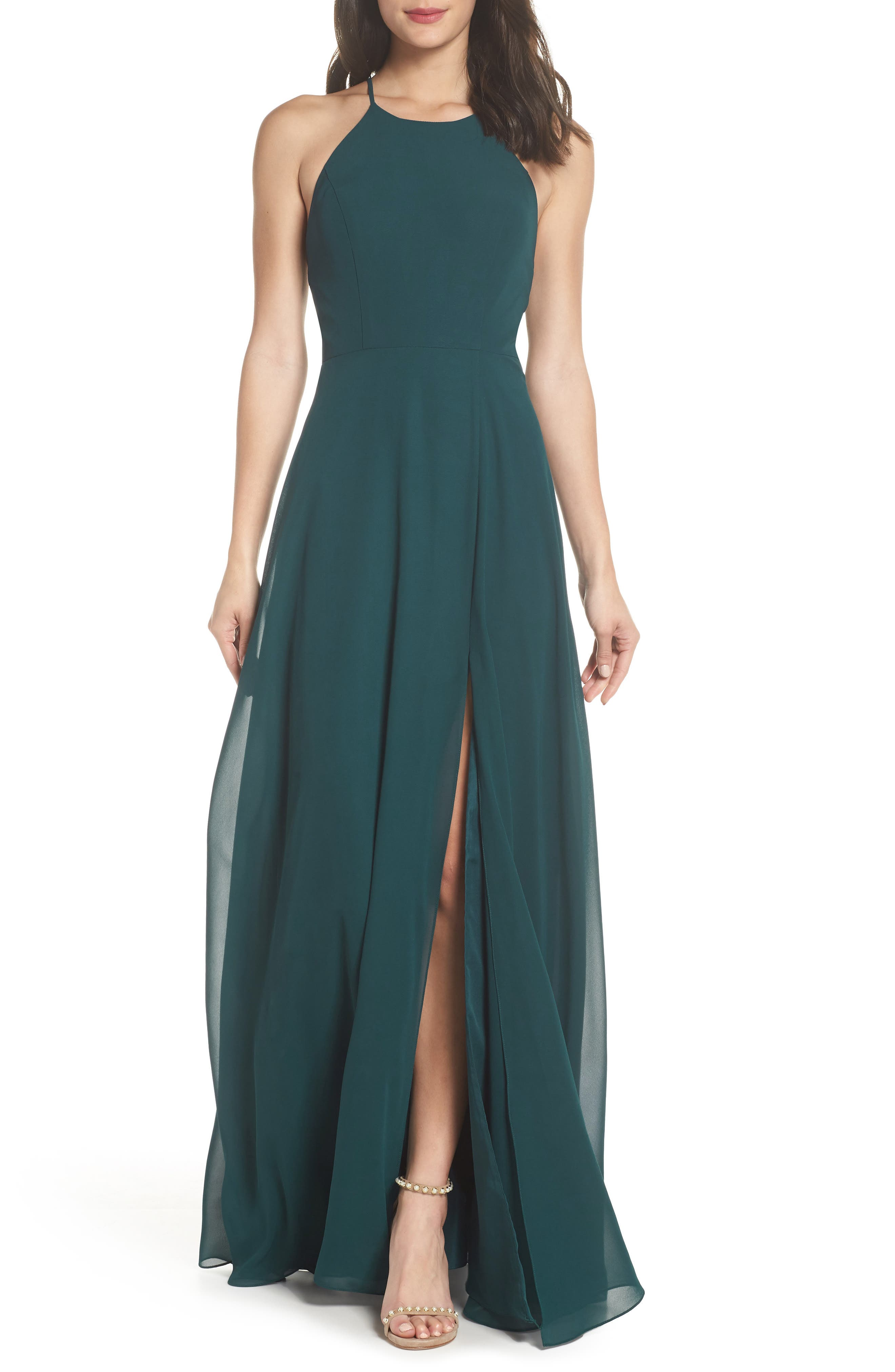 JENNY YOO, Kayla A-Line Halter Gown, Main thumbnail 1, color, CASPIAN SEA
