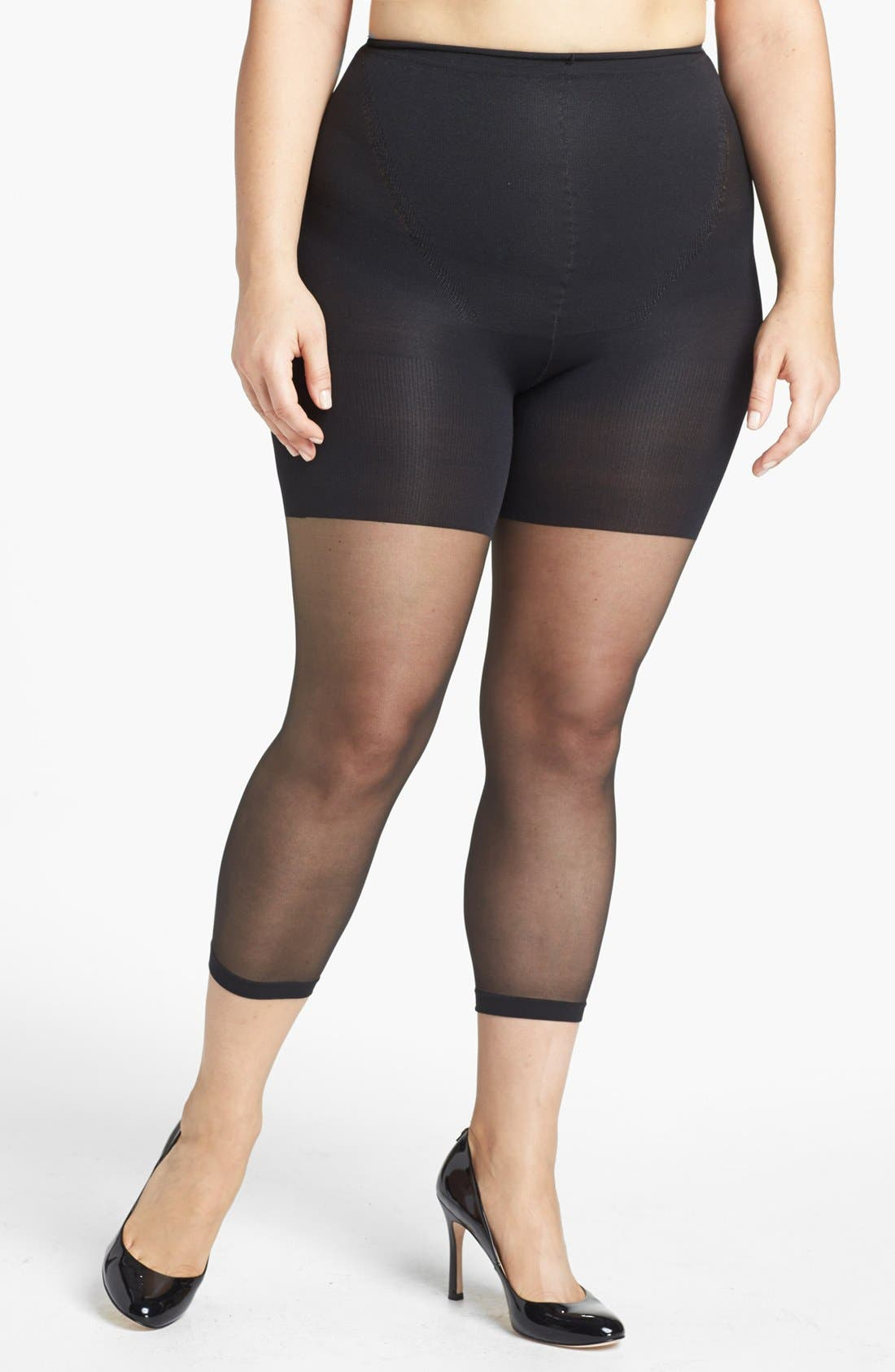 SPANX<SUP>®</SUP> Power Capri Control Top Footless Pantyhose, Main, color, BLACK