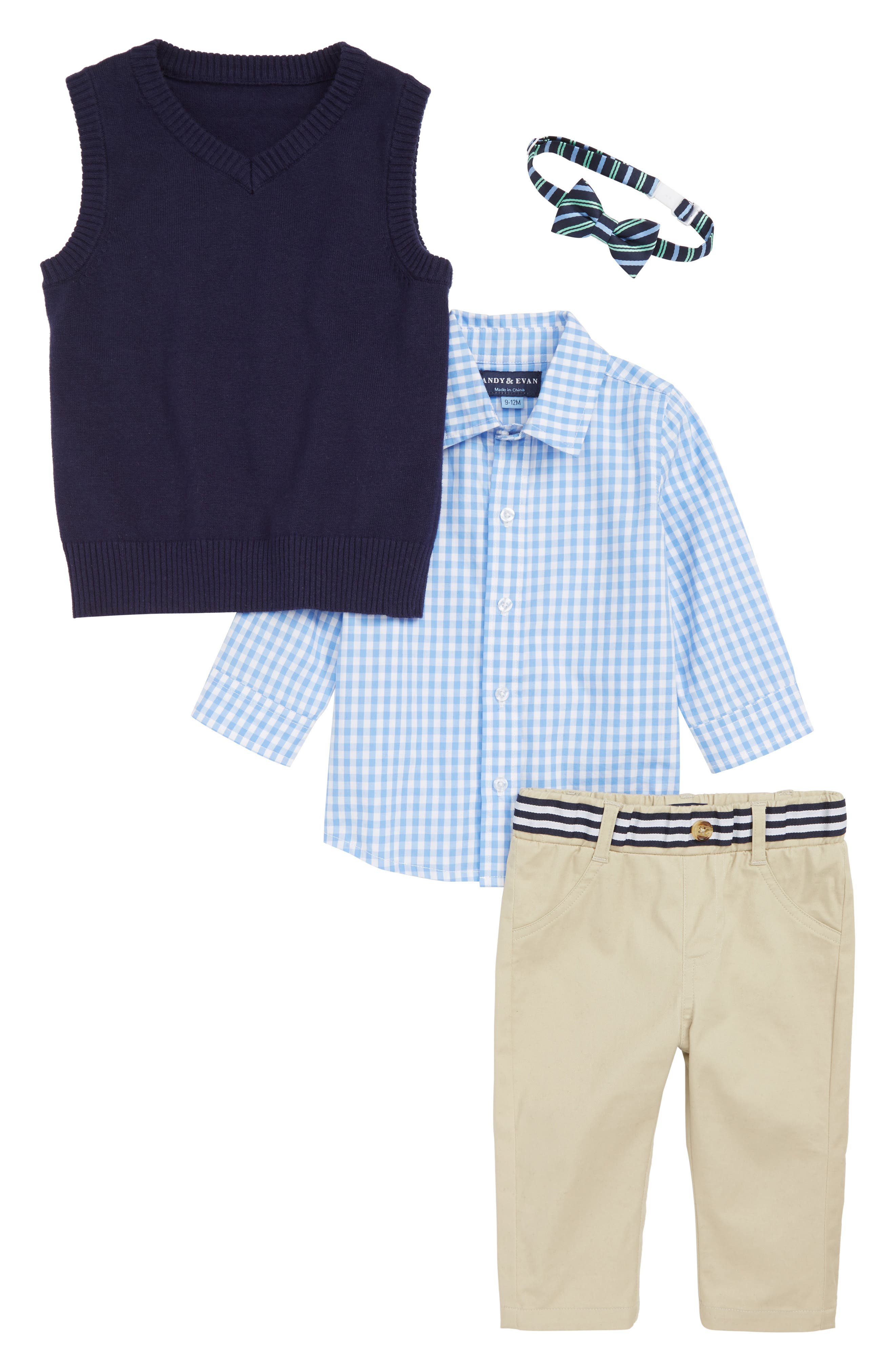 ANDY & EVAN Shirt Bow Tie, Sweater & Pants Set, Main, color, NVM-NAVY