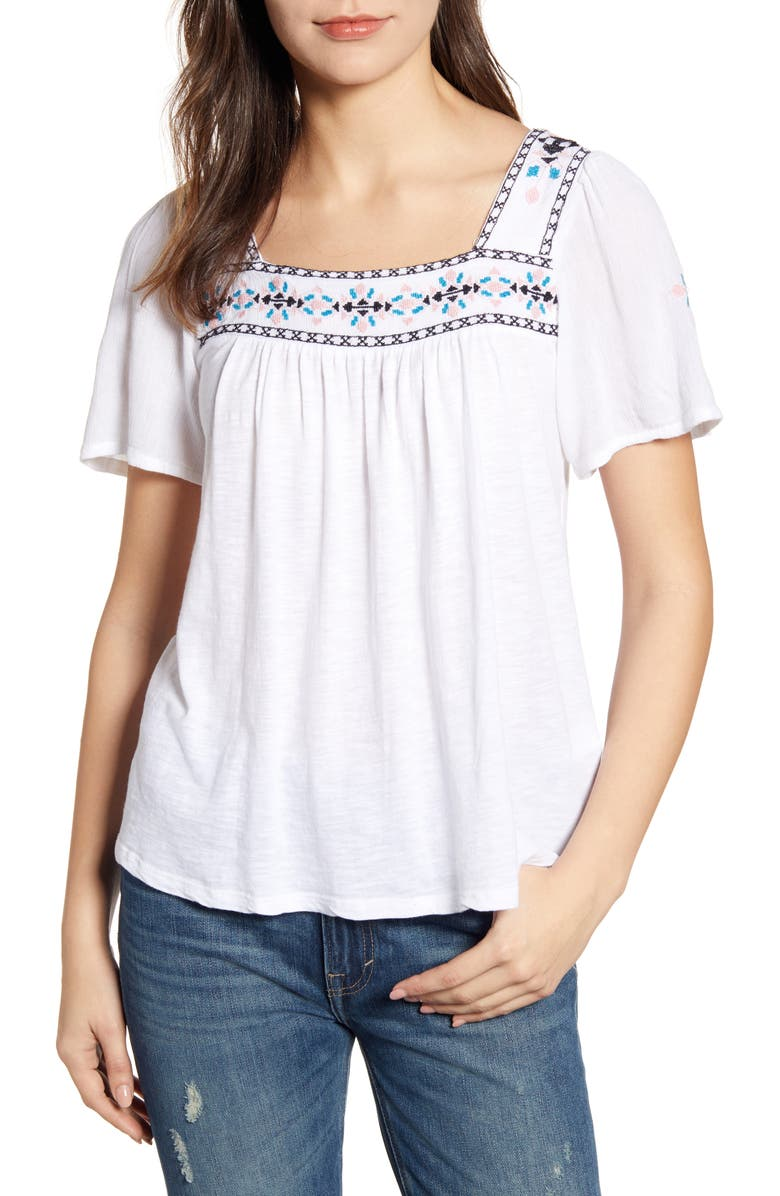 Lucky Brand Tops EMBROIDERED SQUARE NECK TOP