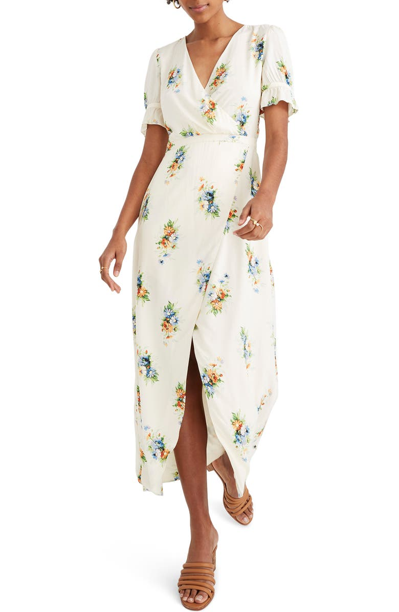 Madewell Dresses CLASSIC CORSAGE RUFFLE SLEEVE MAXI DRESS