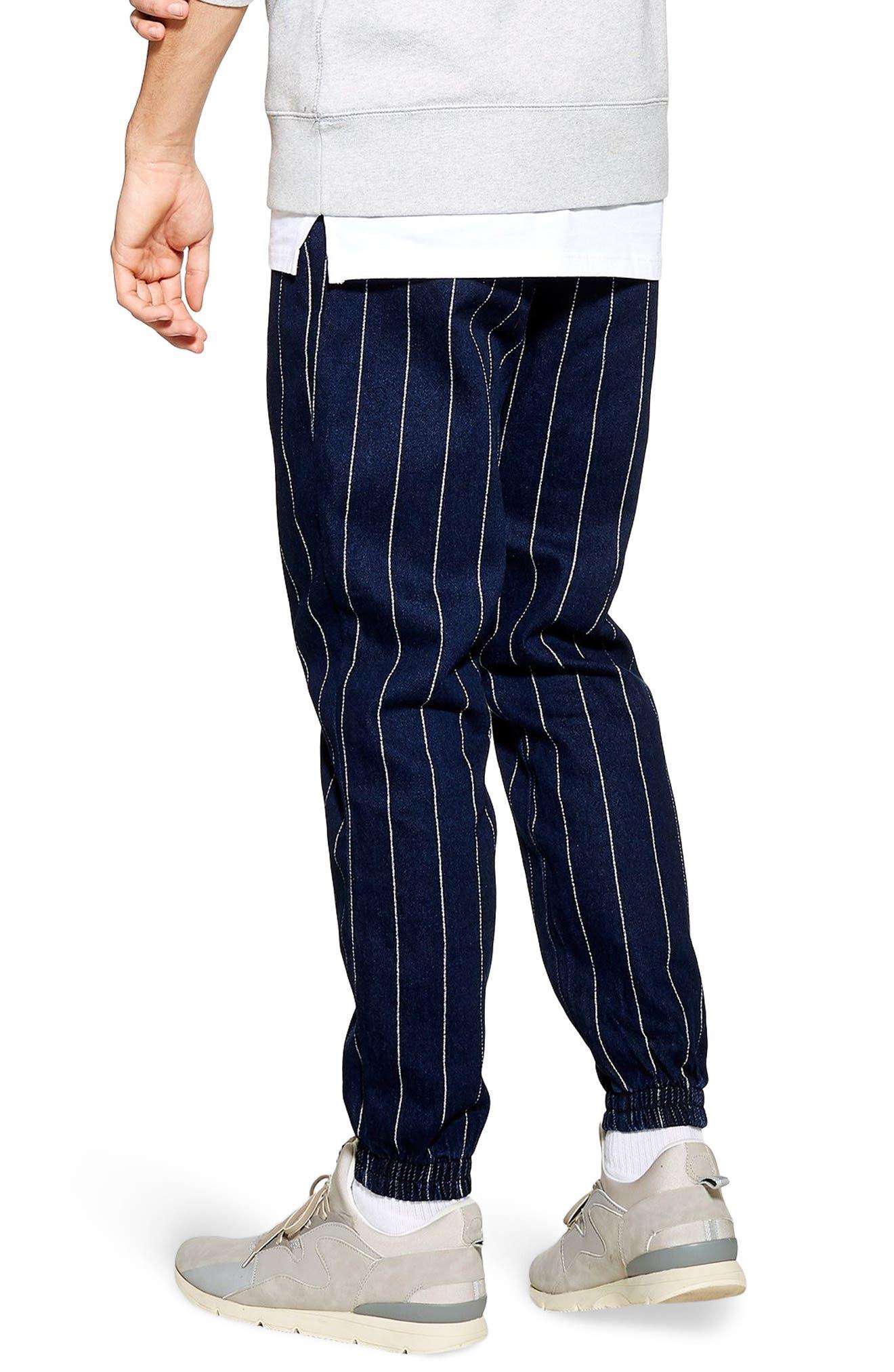 TOPMAN, Stripe Jogger Pants, Alternate thumbnail 2, color, DARK BLUE