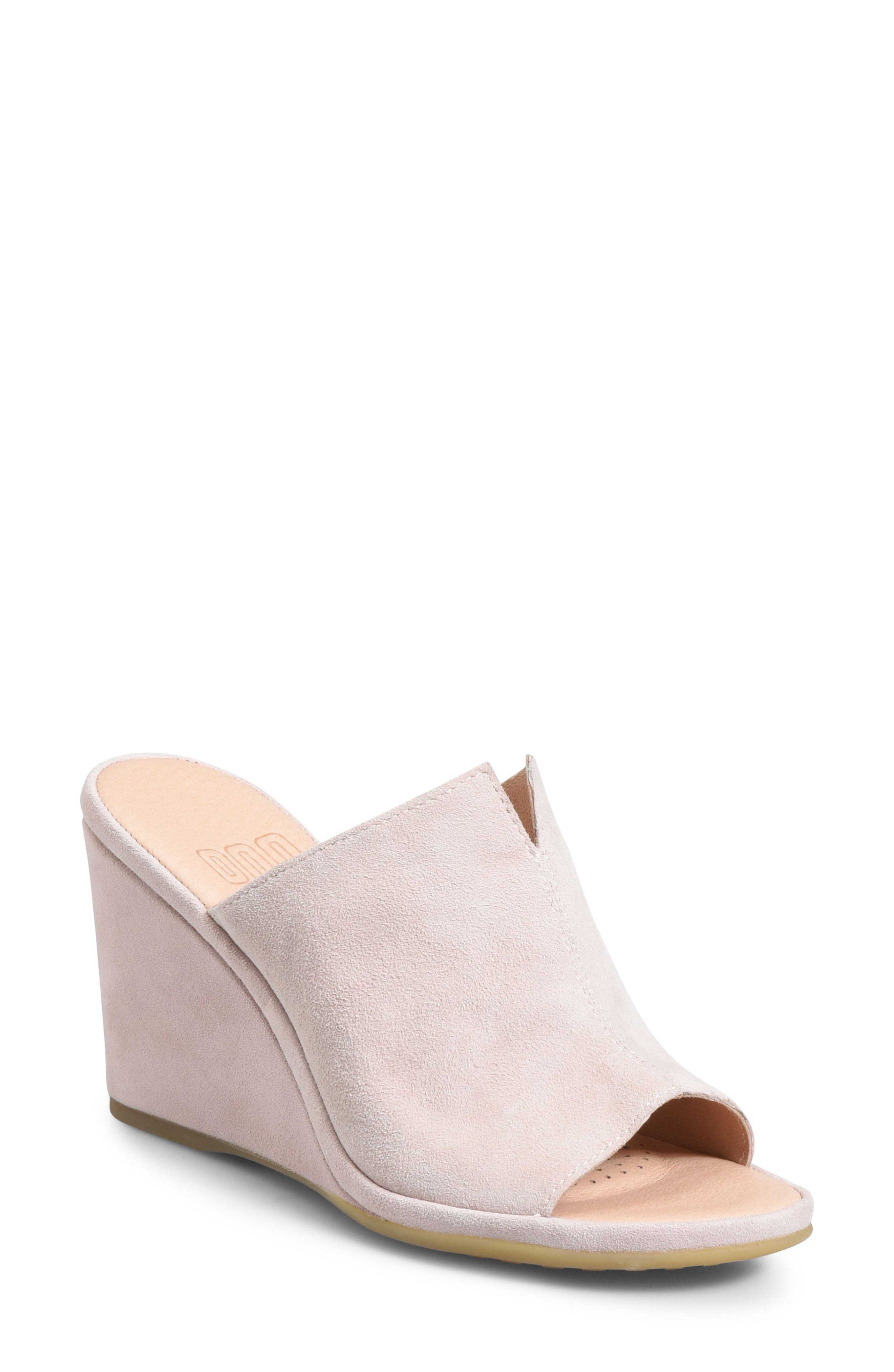 ONO, Hannah Wedge Mule, Main thumbnail 1, color, LIGHT PINK SUEDE
