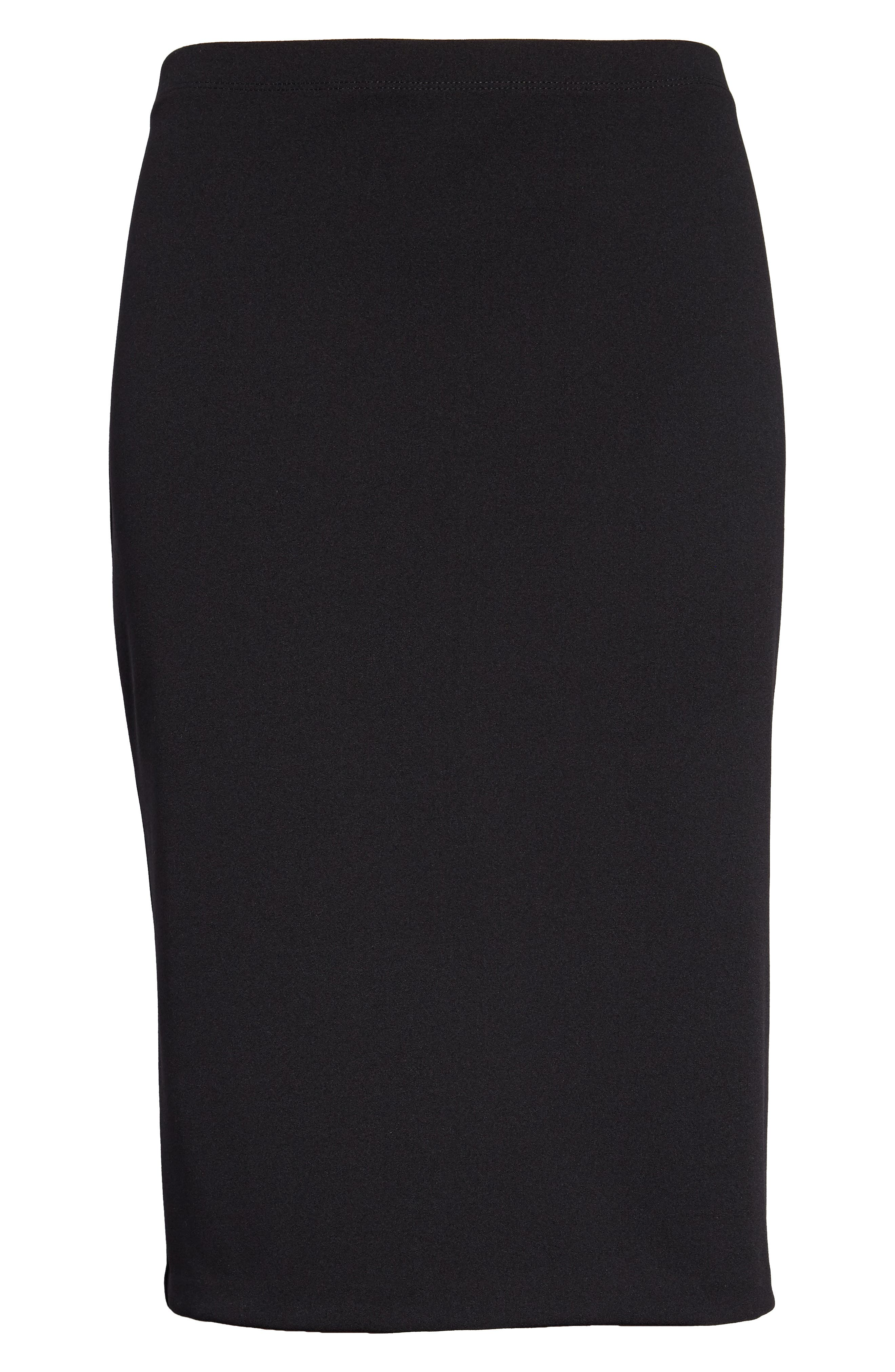 VINCE CAMUTO, Pull-On Pencil Skirt, Alternate thumbnail 3, color, RICH BLACK