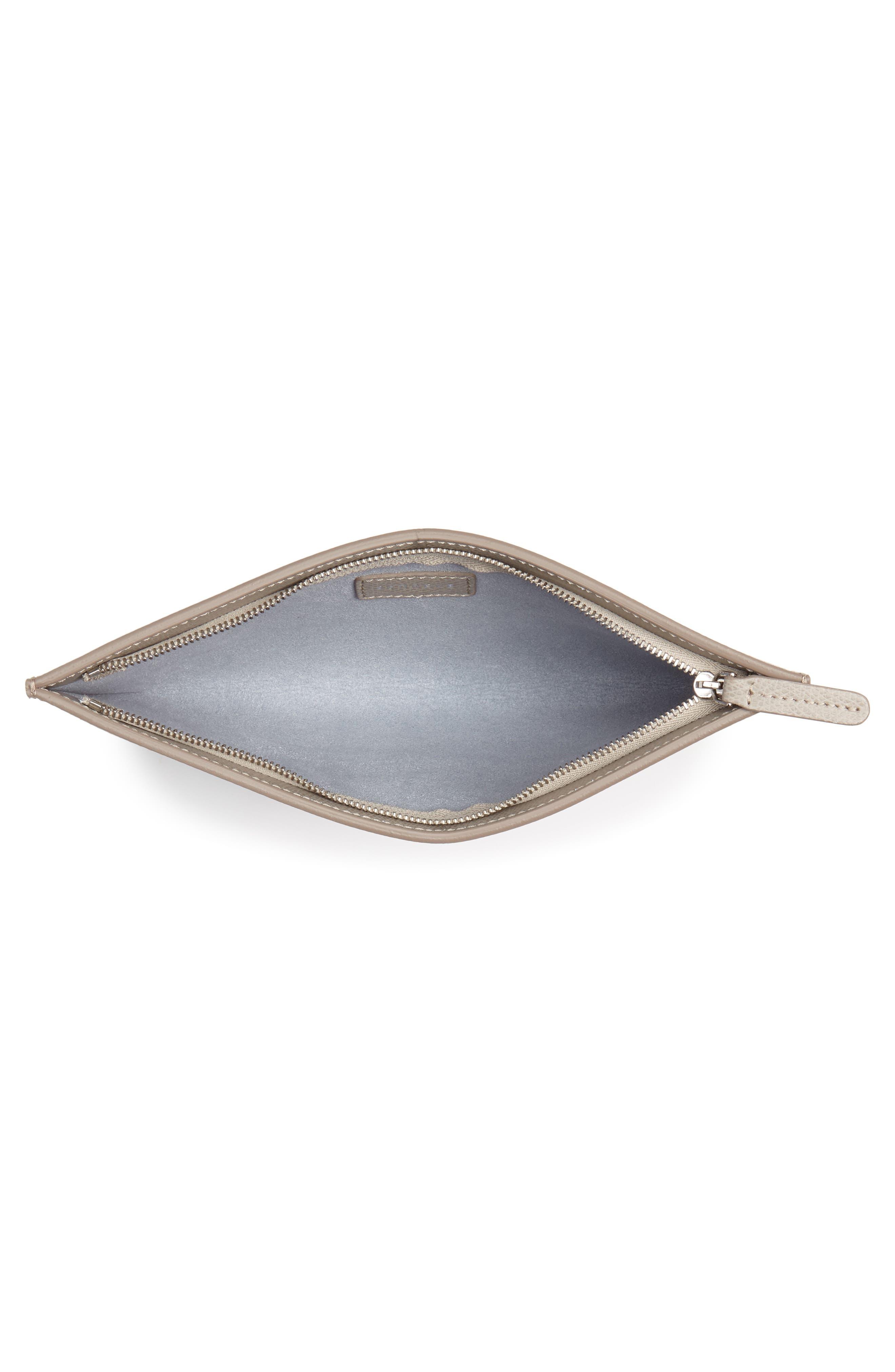 SENREVE, Pebbled Leather Bracelet Pouch, Alternate thumbnail 4, color, SAND