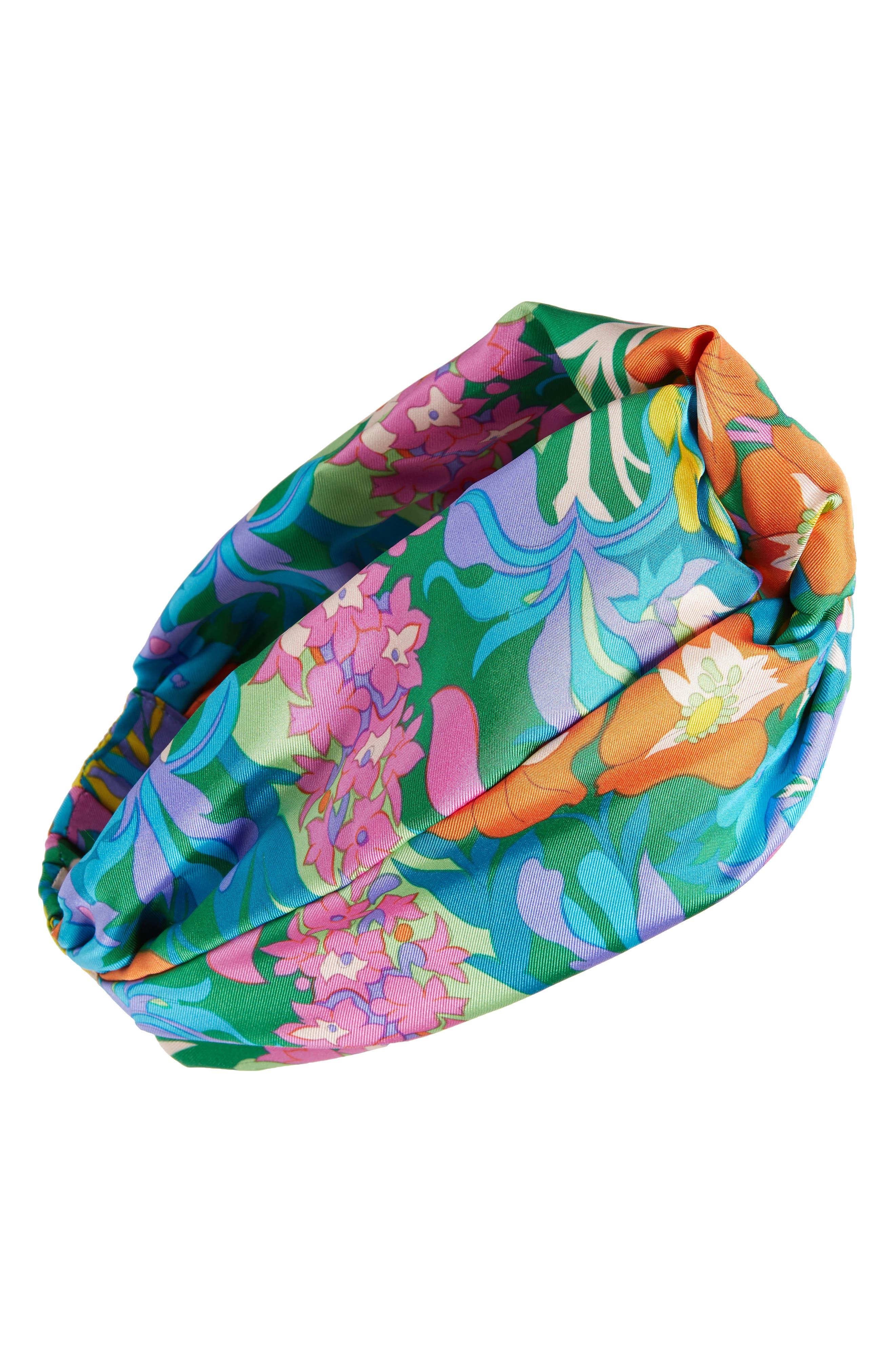 MANTERO, Twiggy Print Silk Head Wrap, Main thumbnail 1, color, 440
