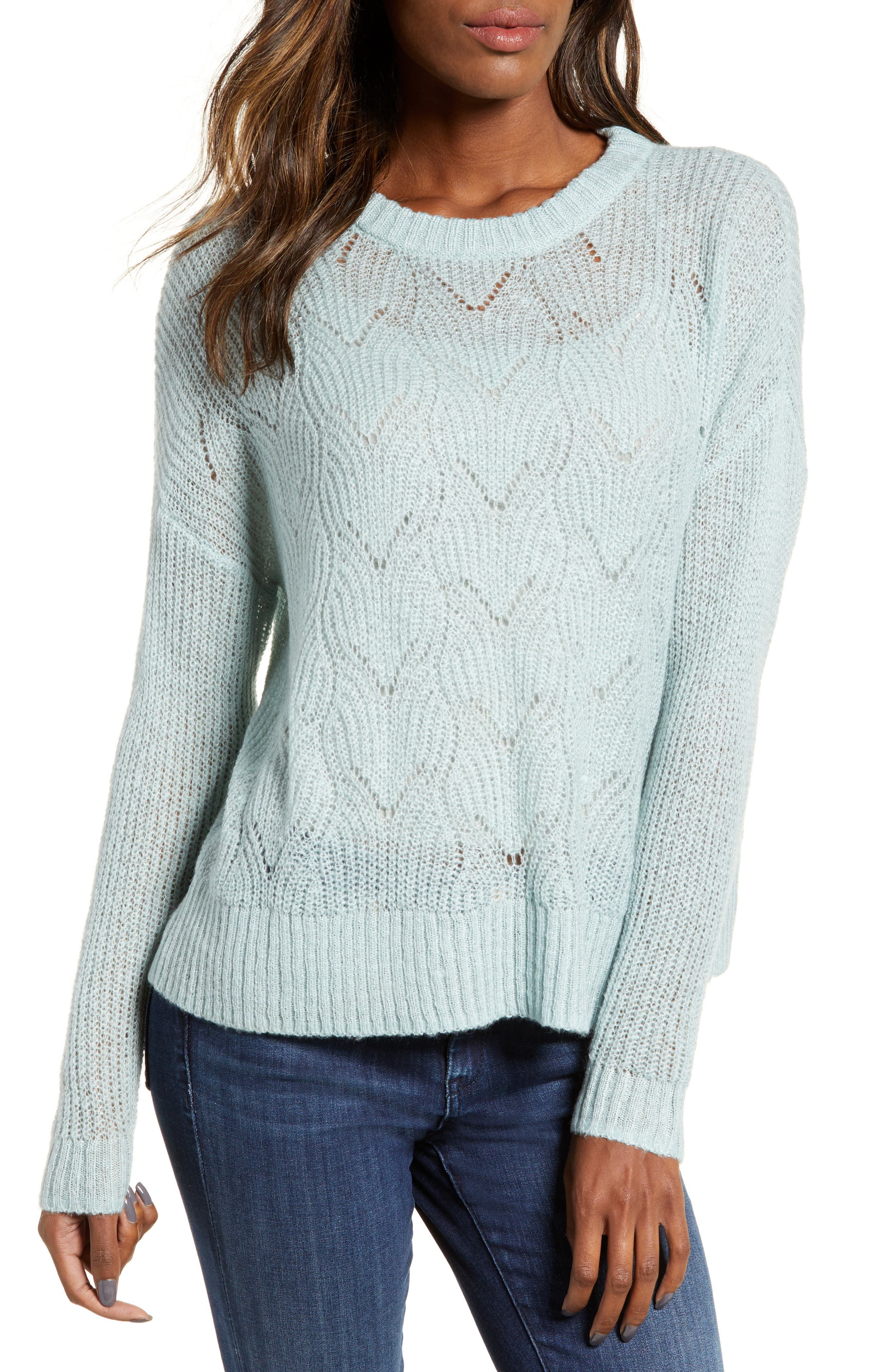BP., Pointelle Stitch Sweater, Main thumbnail 1, color, BLUE CLOUD
