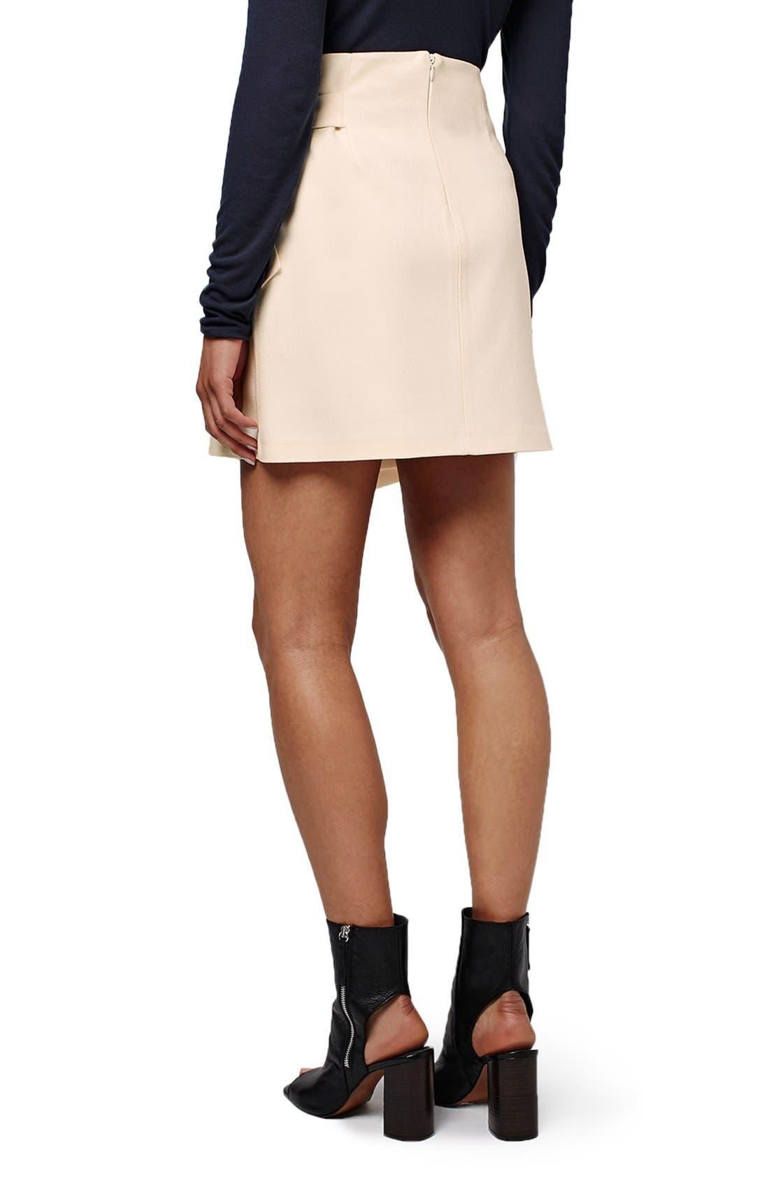 TOPSHOP, Faux Wrap Miniskirt, Alternate thumbnail 2, color, 900