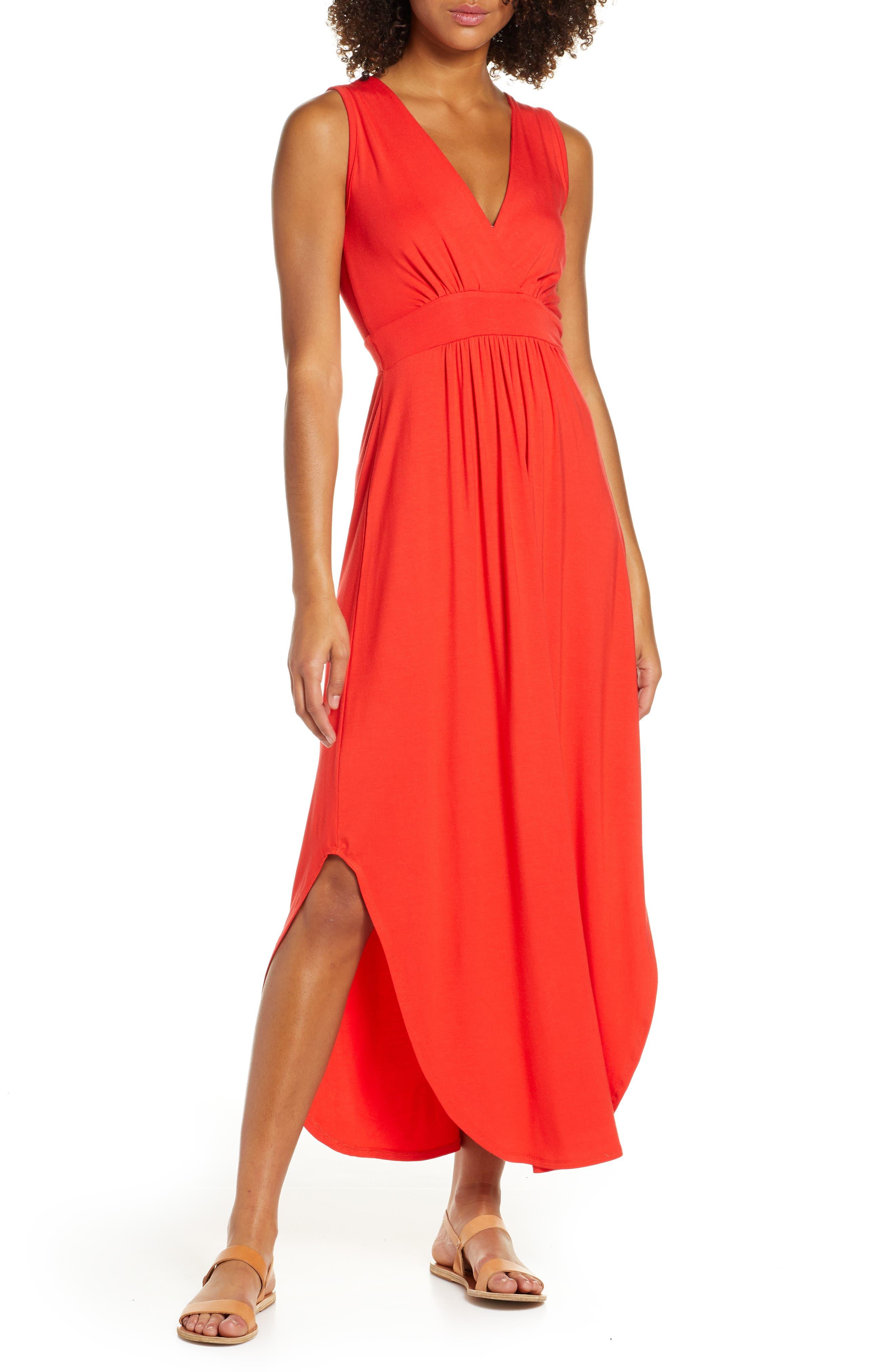 Fraiche By J V-Neck Jersey Dress, Red