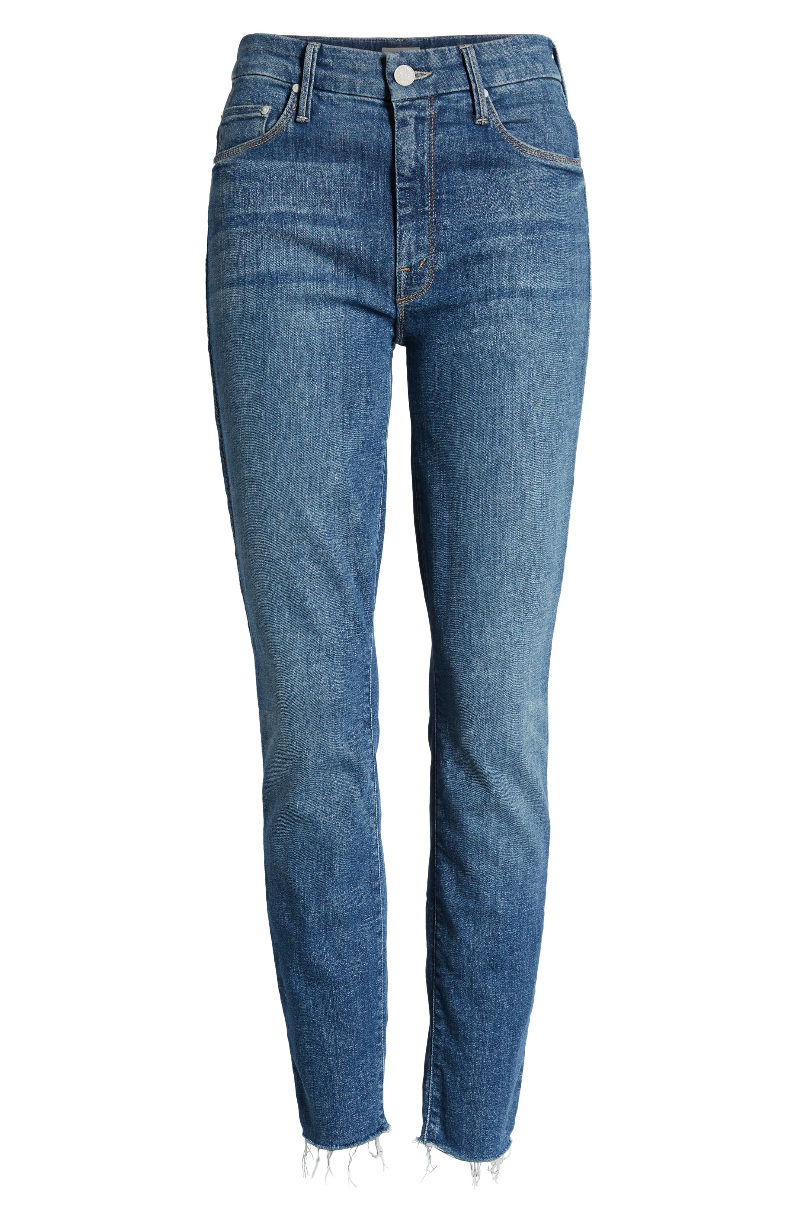 MOTHER, The Looker Frayed Ankle Jeans, Alternate thumbnail 7, color, ONE SMART COOKIE