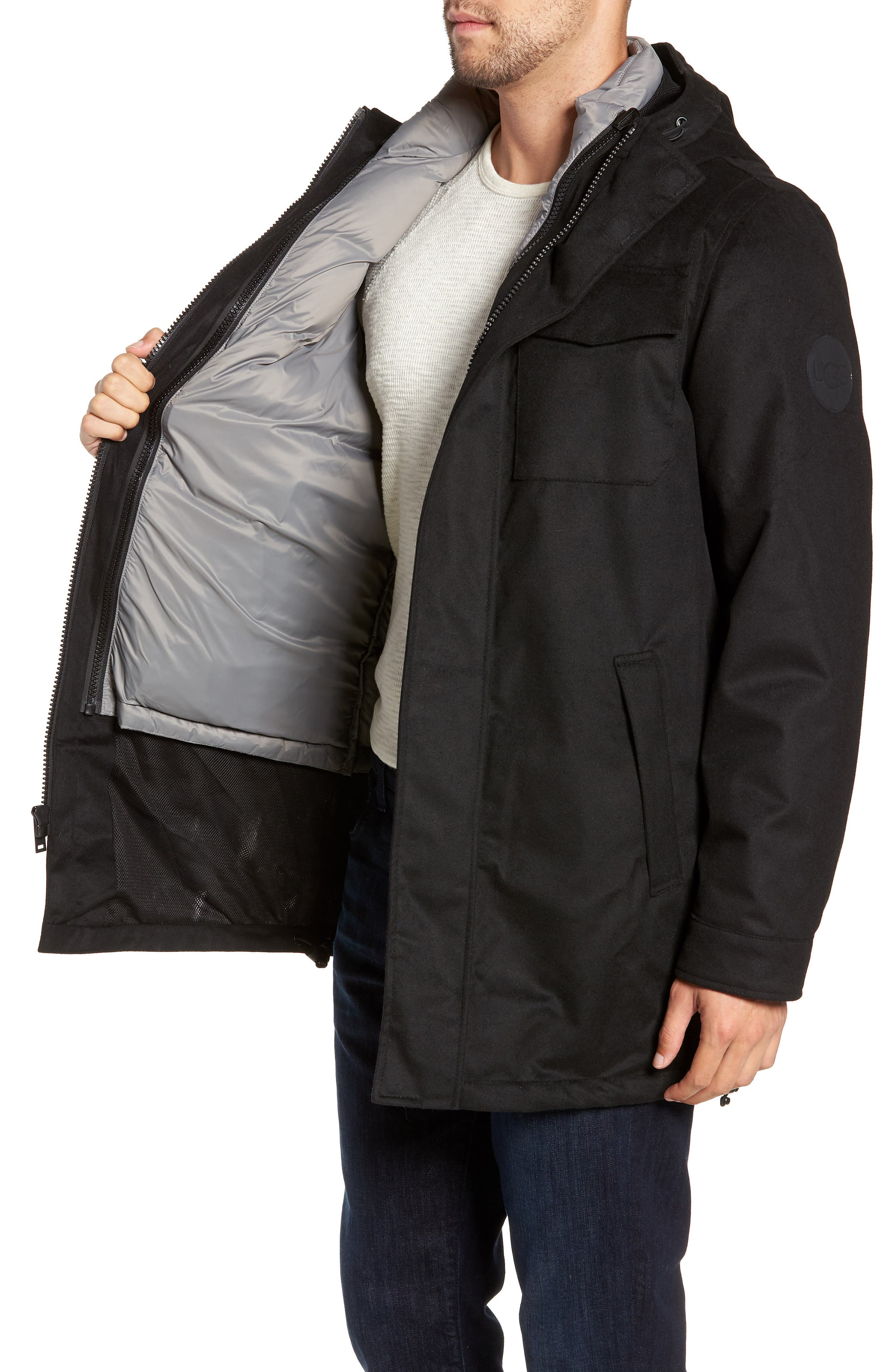UGG<SUP>®</SUP>, Copeland 3-in-1 Parka, Alternate thumbnail 4, color, BLACK