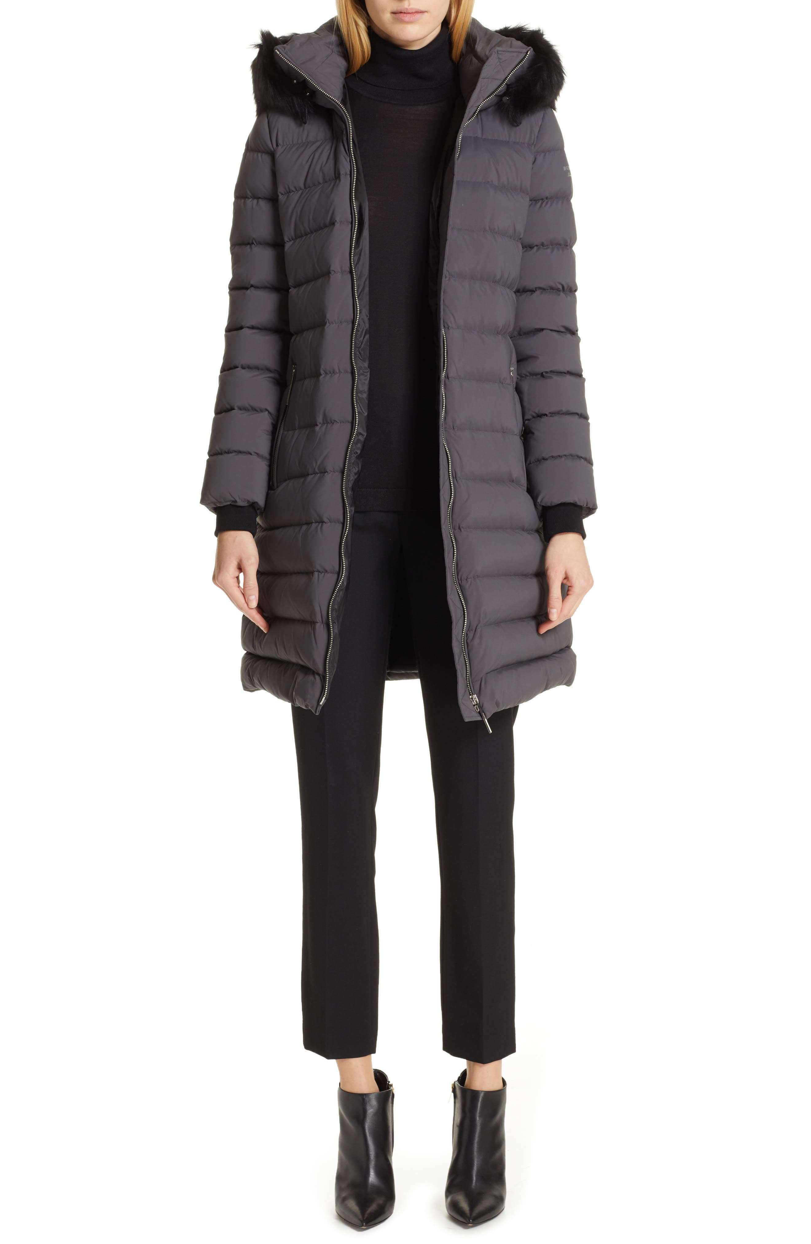 BURBERRY, Limehouse Quilted Down Puffer Coat with Removable Genuine Shearling Trim, Alternate thumbnail 8, color, MID GREY