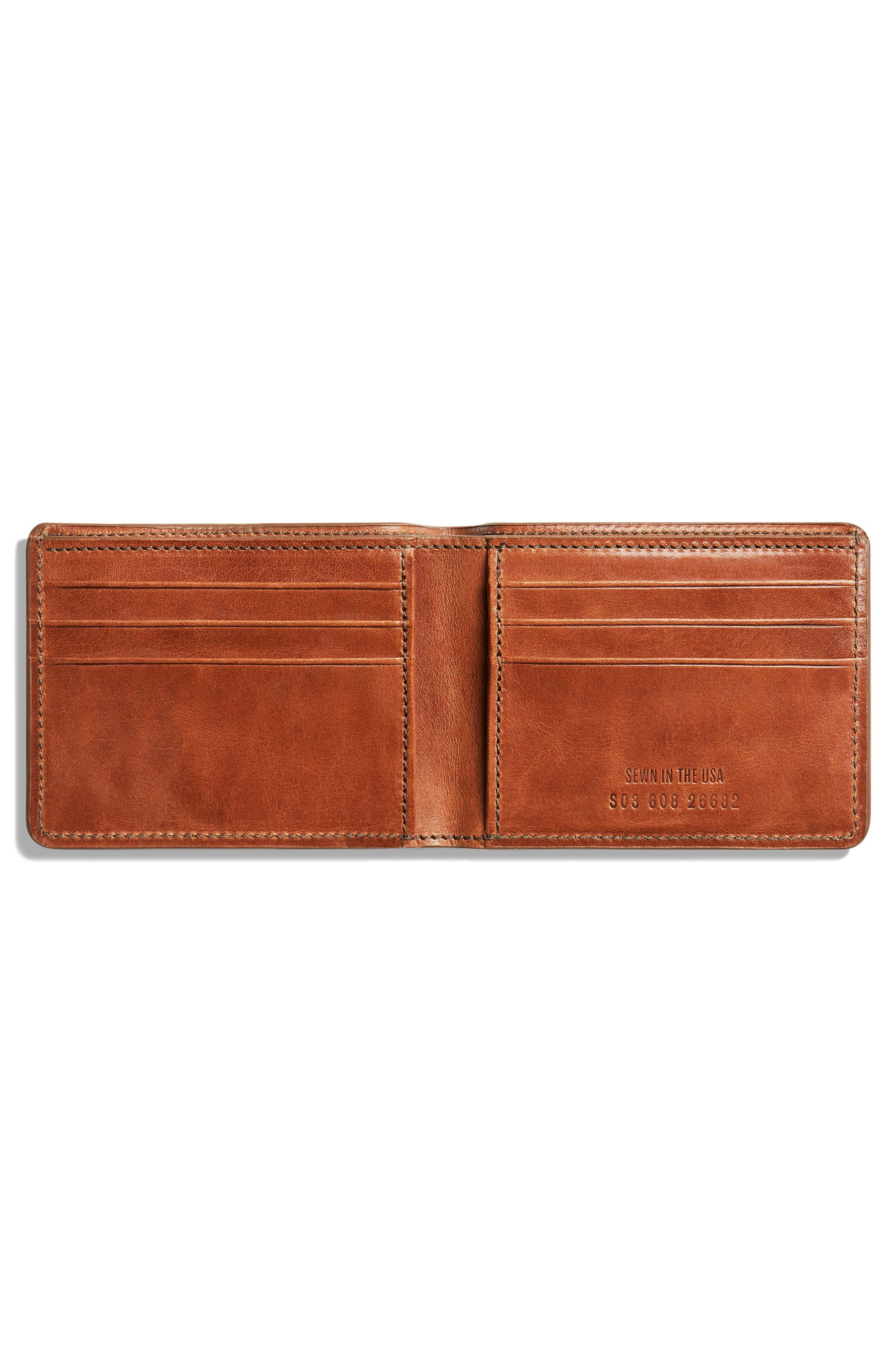 SHINOLA, Harness Slim 2.0 Bifold Leather Wallet, Alternate thumbnail 2, color, BOURBON