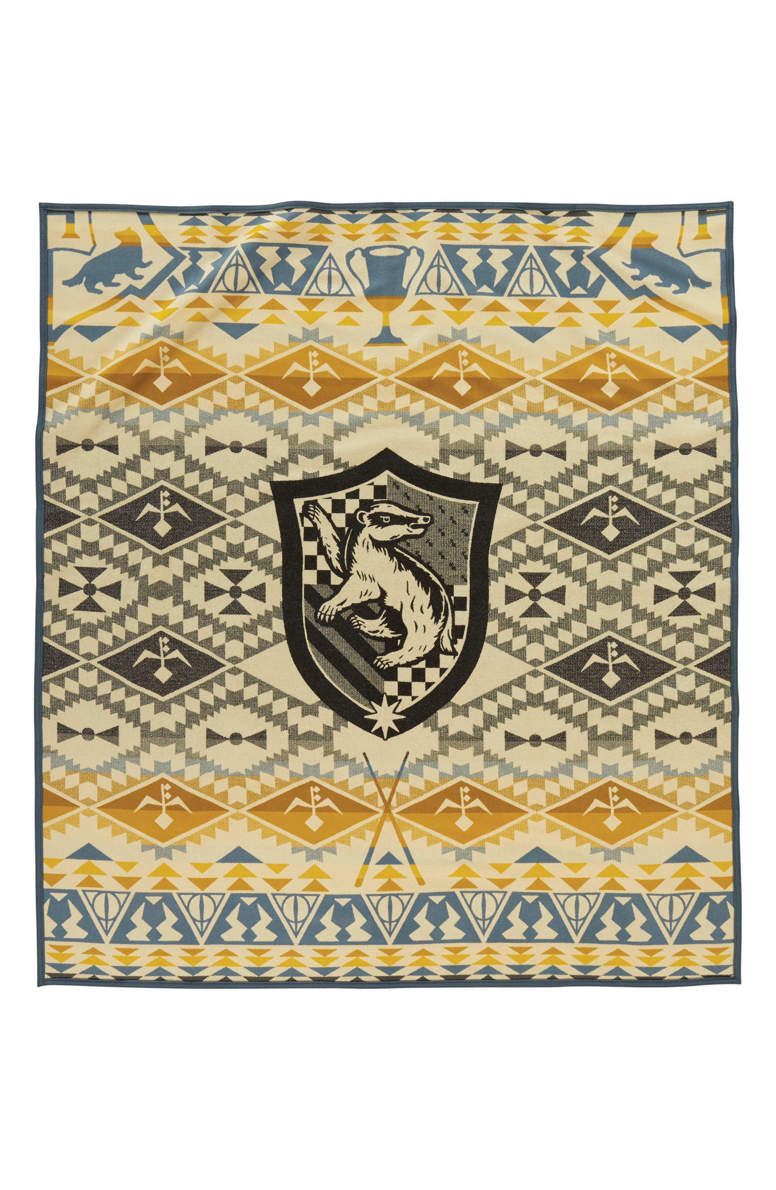 PENDLETON, Harry Potter - Hufflepuff Blanket, Main thumbnail 1, color, YELLOW