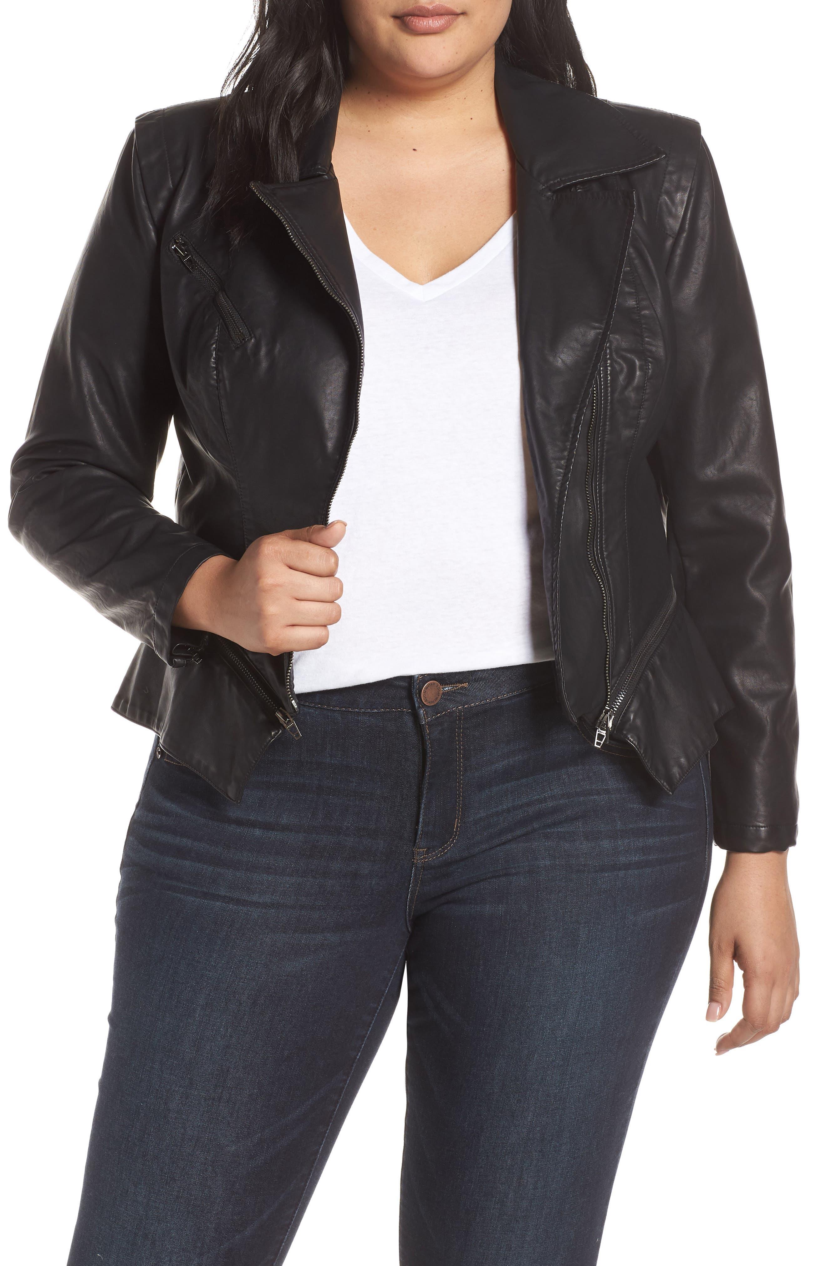 BLANKNYC, Faux Leather Moto Jacket, Alternate thumbnail 2, color, BLACK