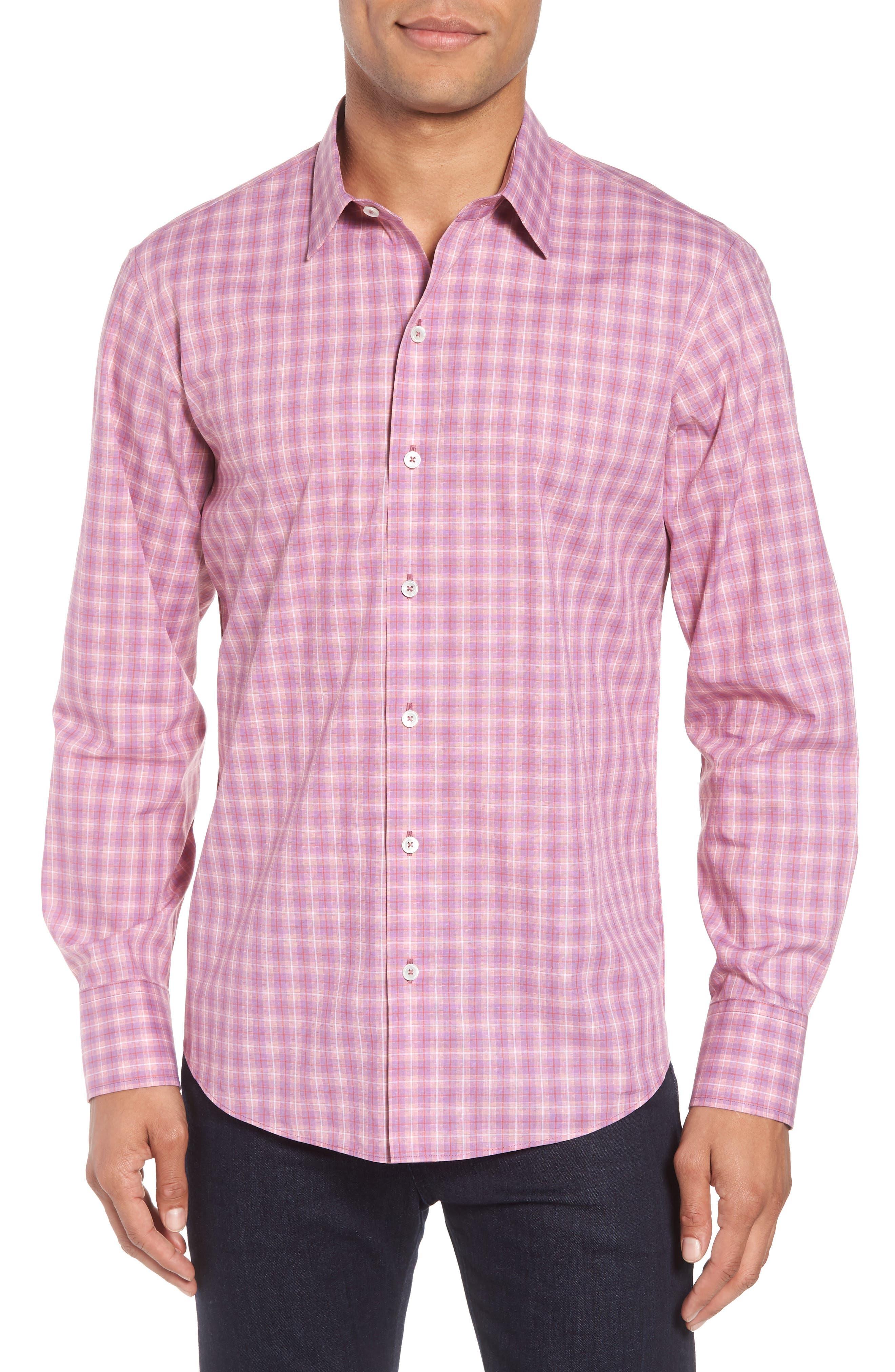 ZACHARY PRELL, Duran Regular Fit Sport Shirt, Main thumbnail 1, color, PINK