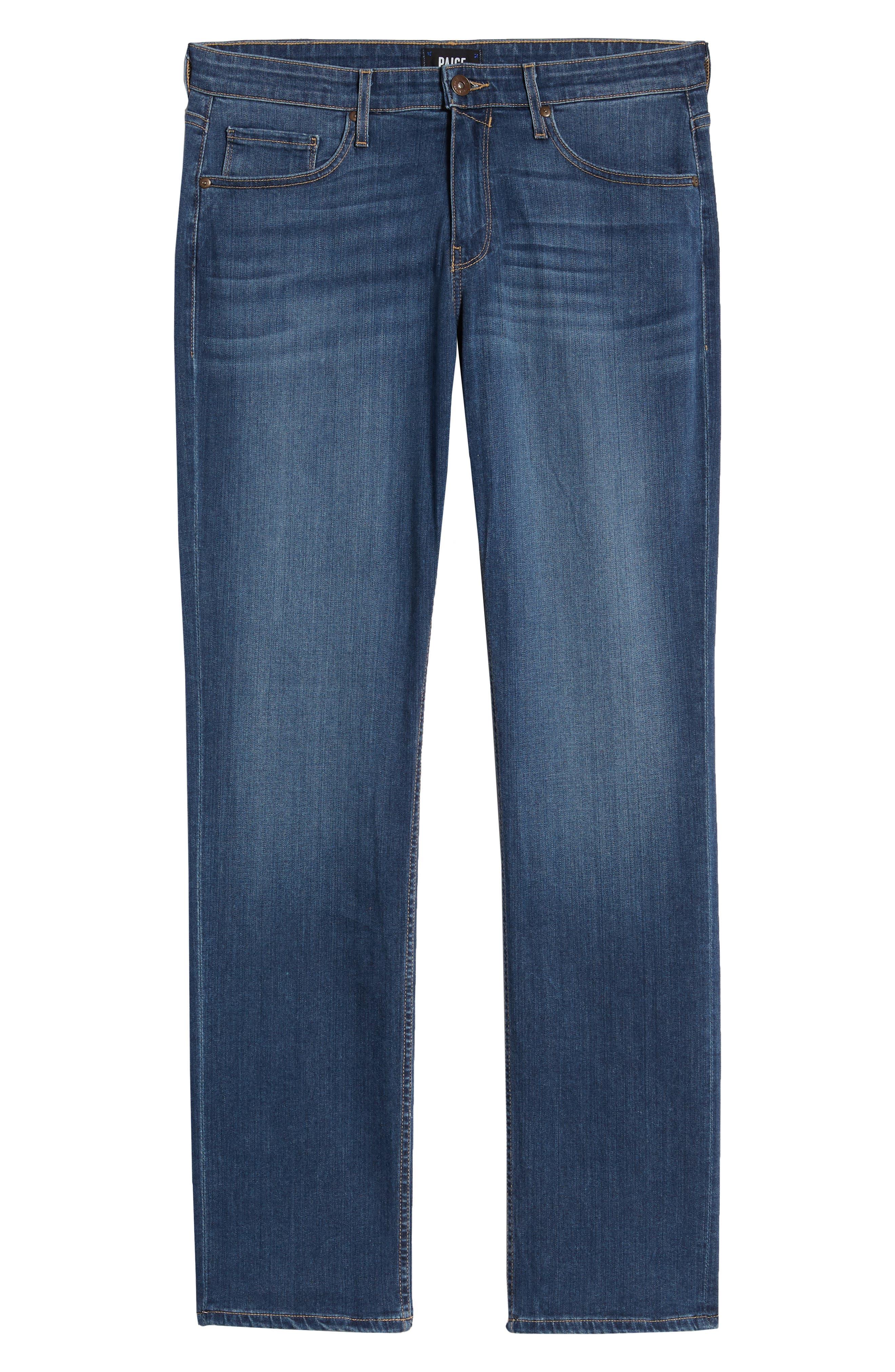 PAIGE, Transcend - Normandie Straight Leg Jeans, Alternate thumbnail 7, color, BIRCH