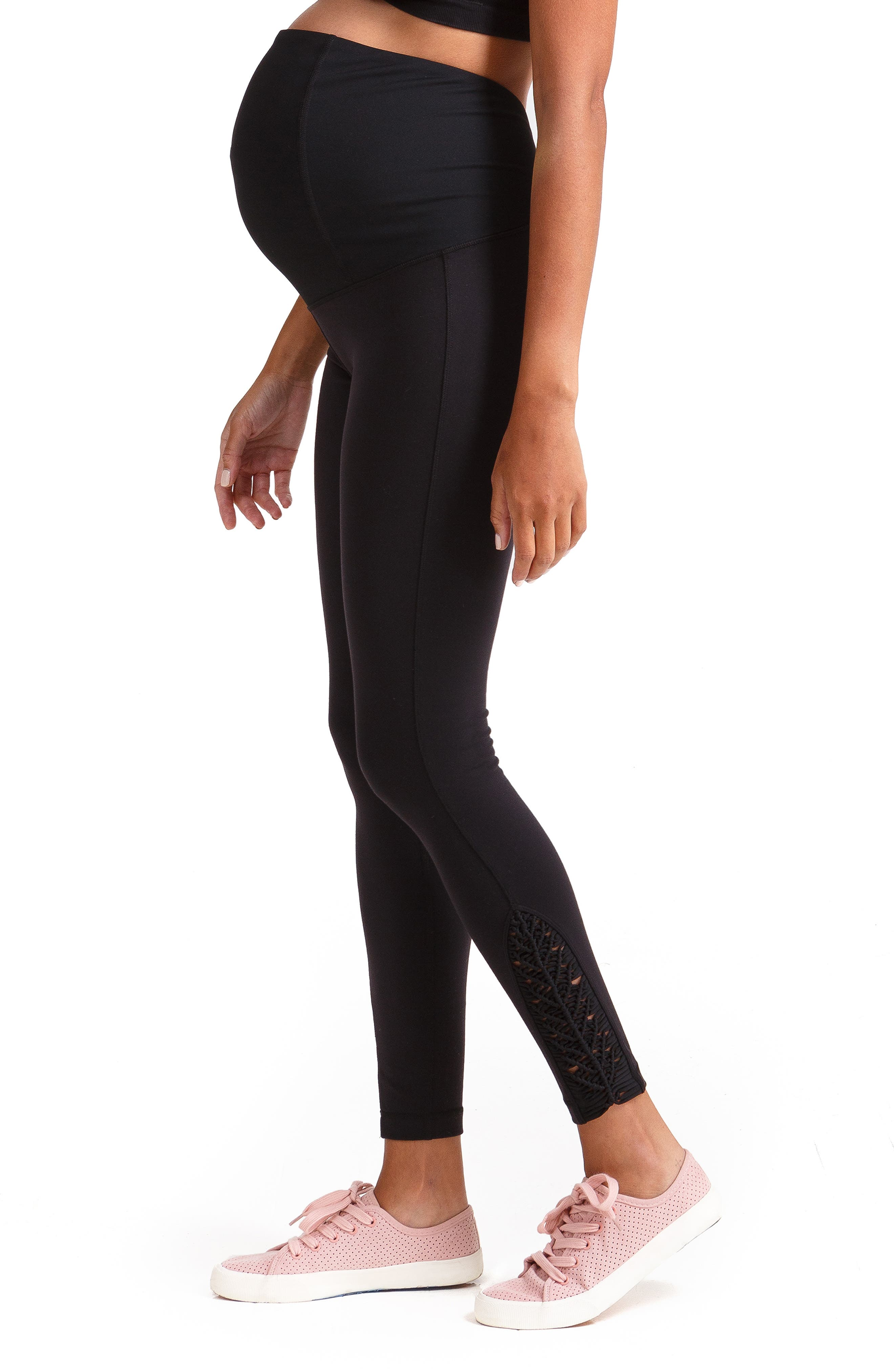 INGRID & ISABEL<SUP>®</SUP>, Active Maternity Leggings with Macramé Detail, Alternate thumbnail 3, color, JET BLACK