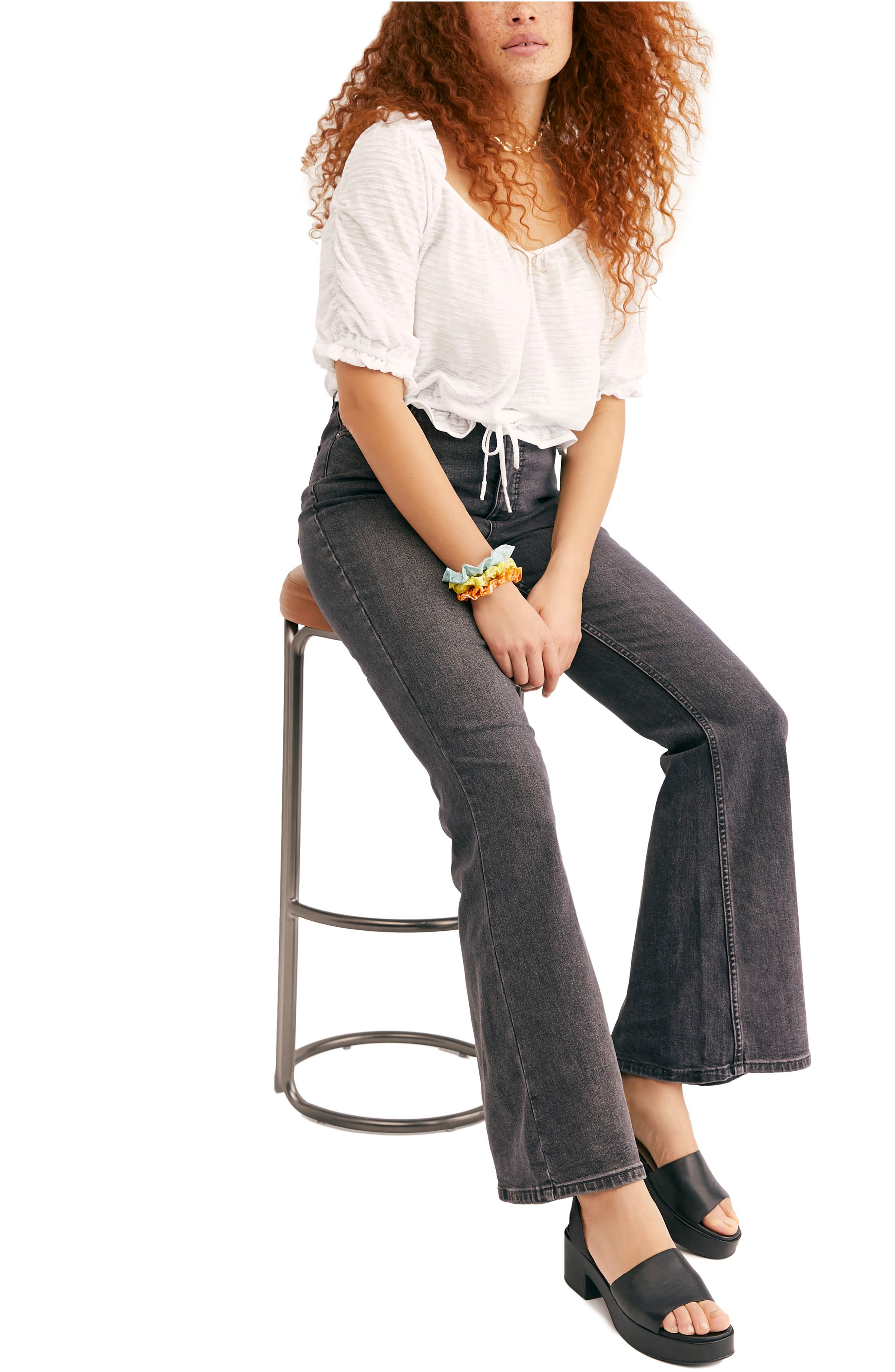 FREE PEOPLE, CRVY by Free People Robin High Waist Flare Jeans, Alternate thumbnail 3, color, BLACK