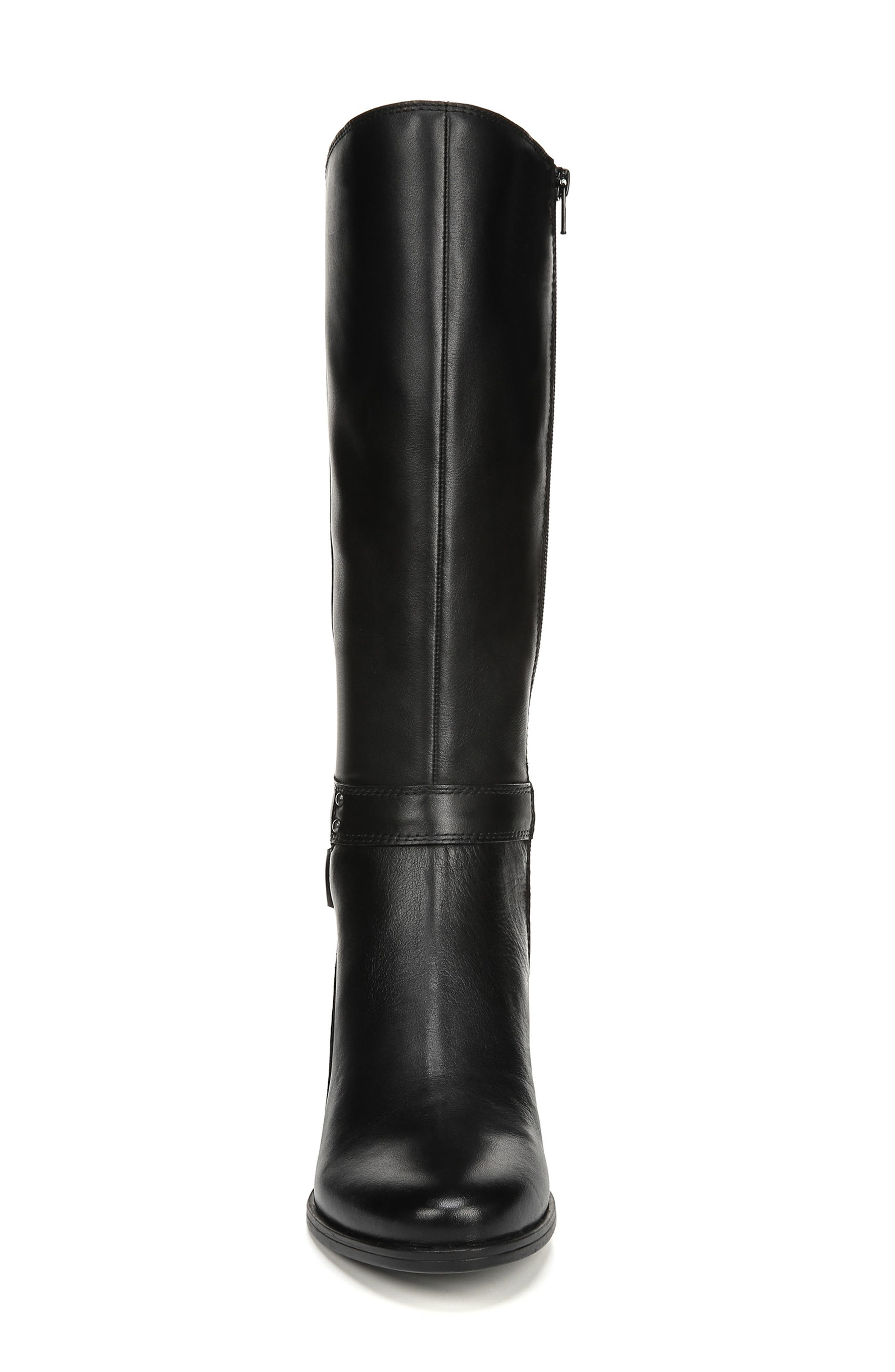 NATURALIZER, Dane Knee High Riding Boot, Alternate thumbnail 4, color, BLACK LEATHER