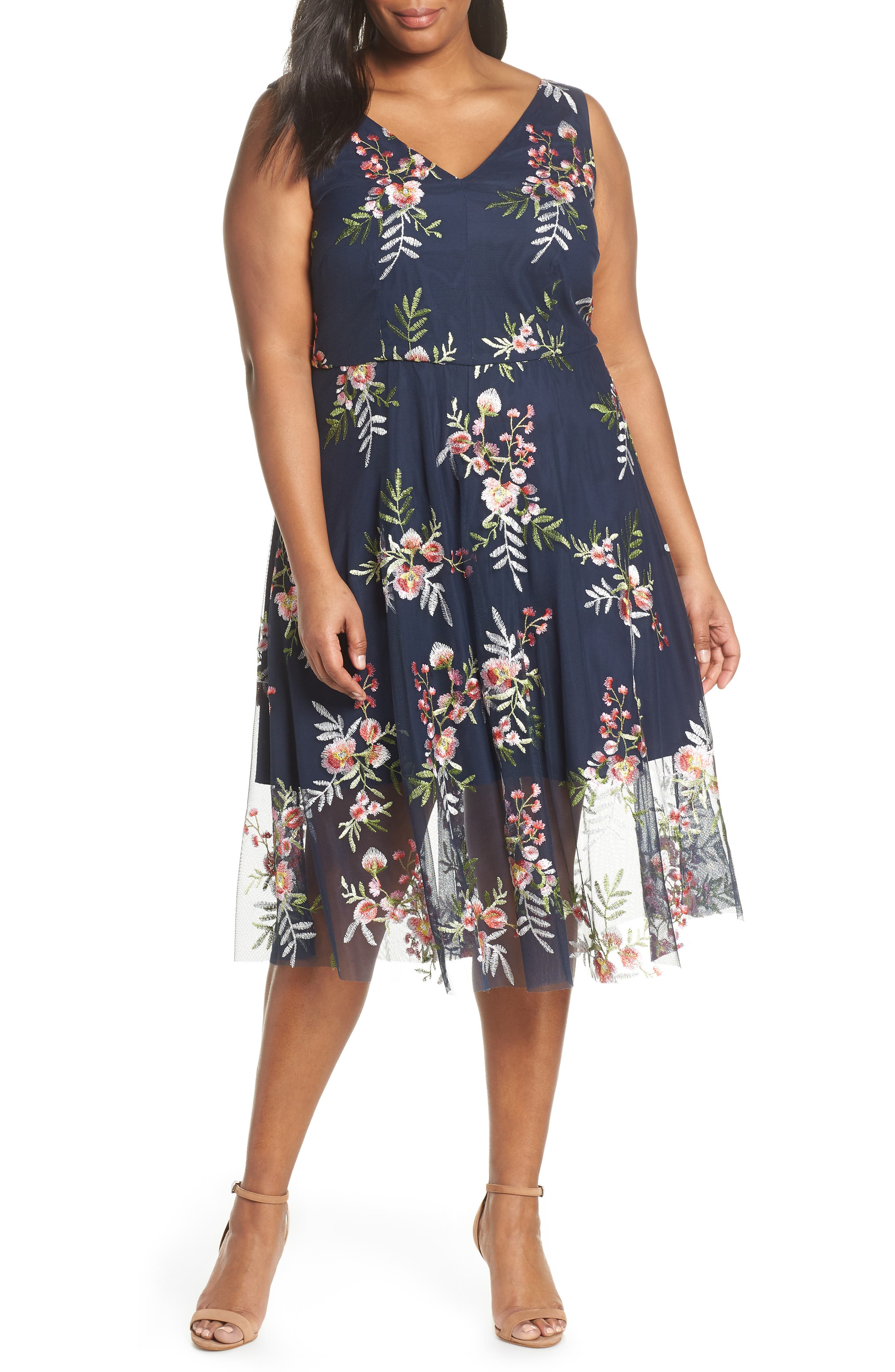 Plus Size Vince Camuto Floral Embroidered Mesh Midi Dress, Blue