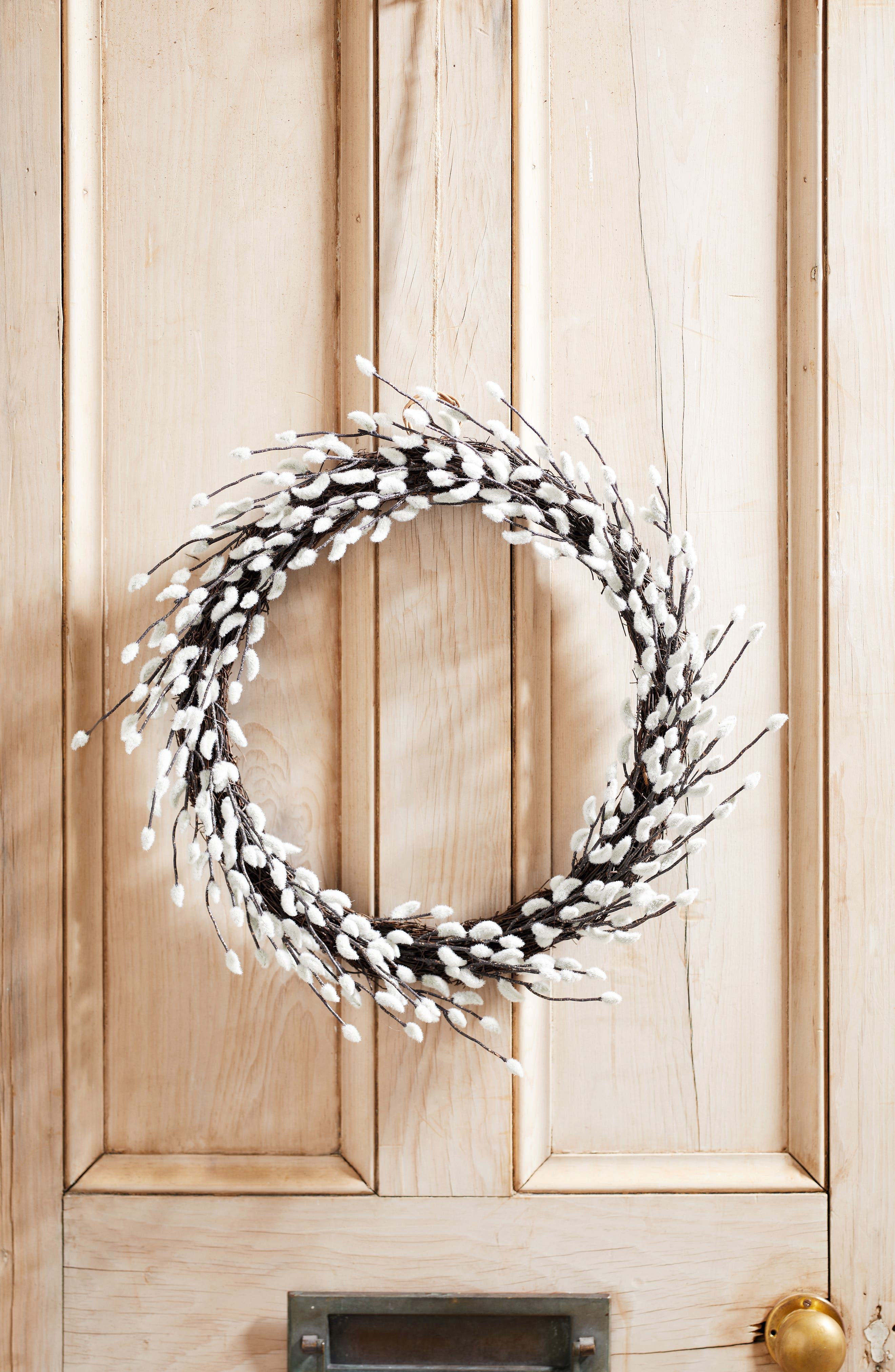 THE WHITE COMPANY, Pussy Willow Wreath, Main thumbnail 1, color, NATURAL