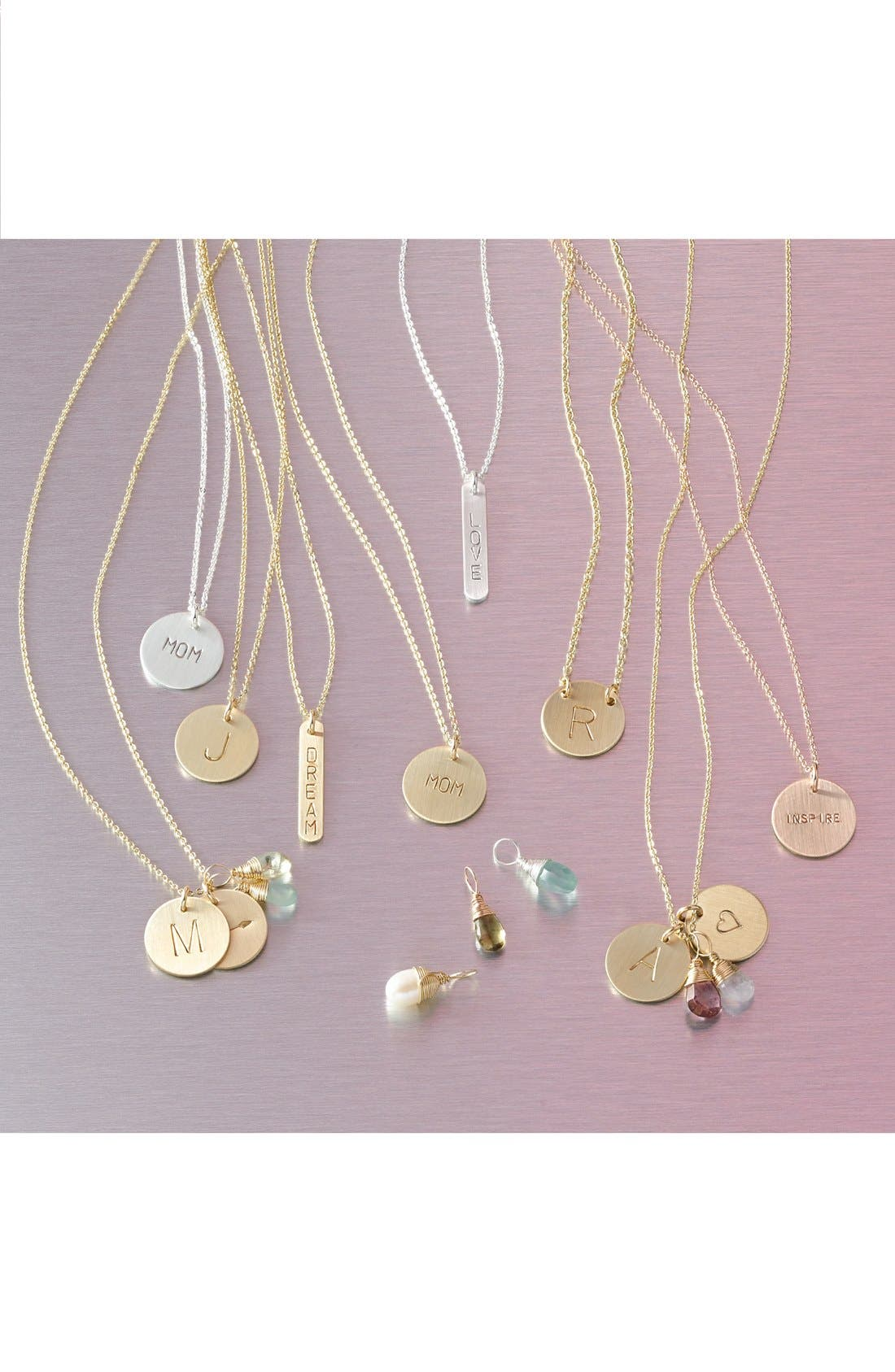 NASHELLE, 14k-Gold Fill Anchored Initial Disc Necklace, Alternate thumbnail 3, color, 14K GOLD FILL A