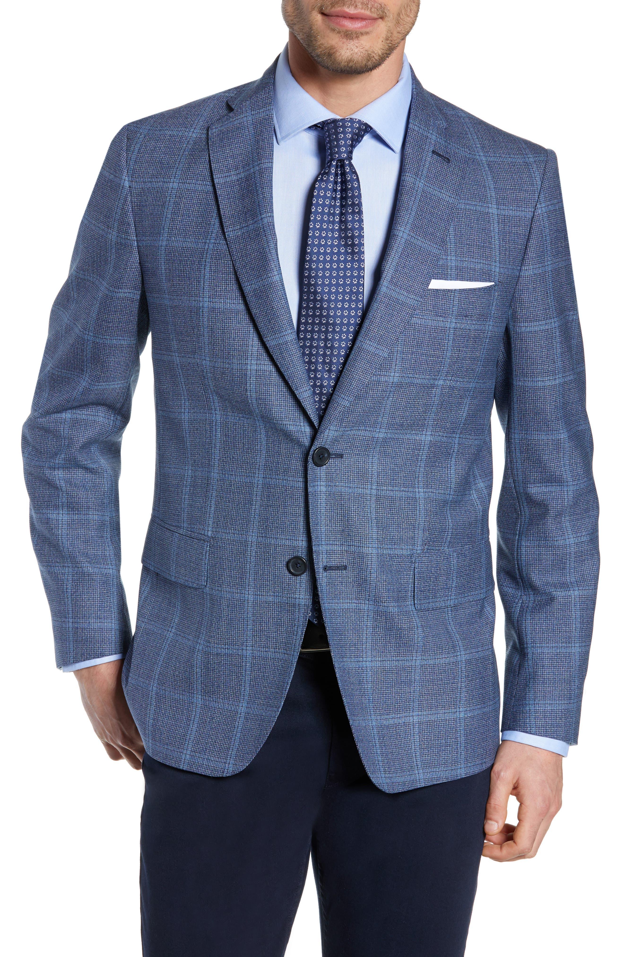 JOHN W. NORDSTROM<SUP>®</SUP>, Traditional Fit Windowpane Wool Sport Coat, Main thumbnail 1, color, BLUE DARK NAVY WINDOWPANE