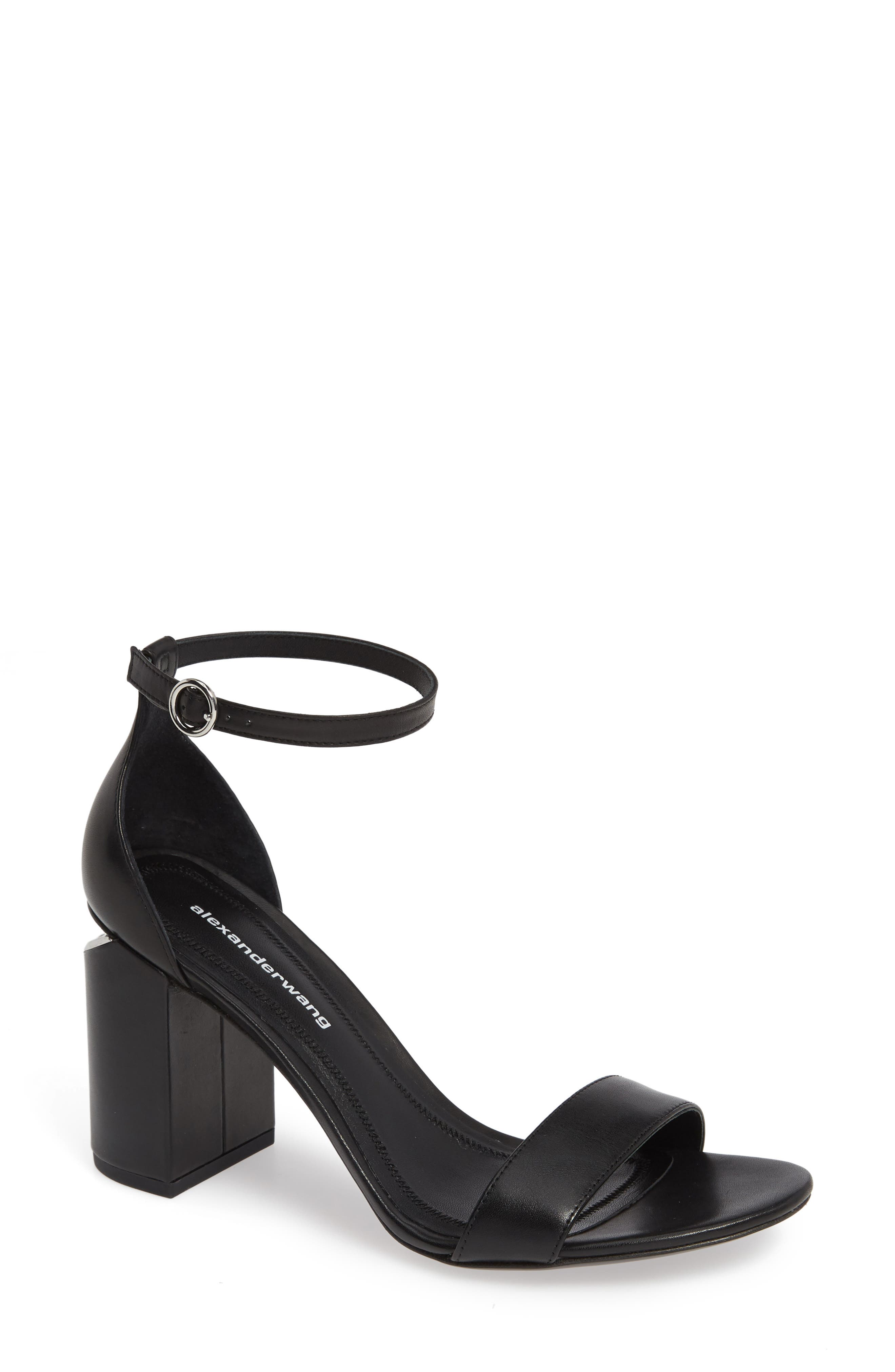 ALEXANDER WANG, New Abby Ankle Strap Sandal, Main thumbnail 1, color, BLACK