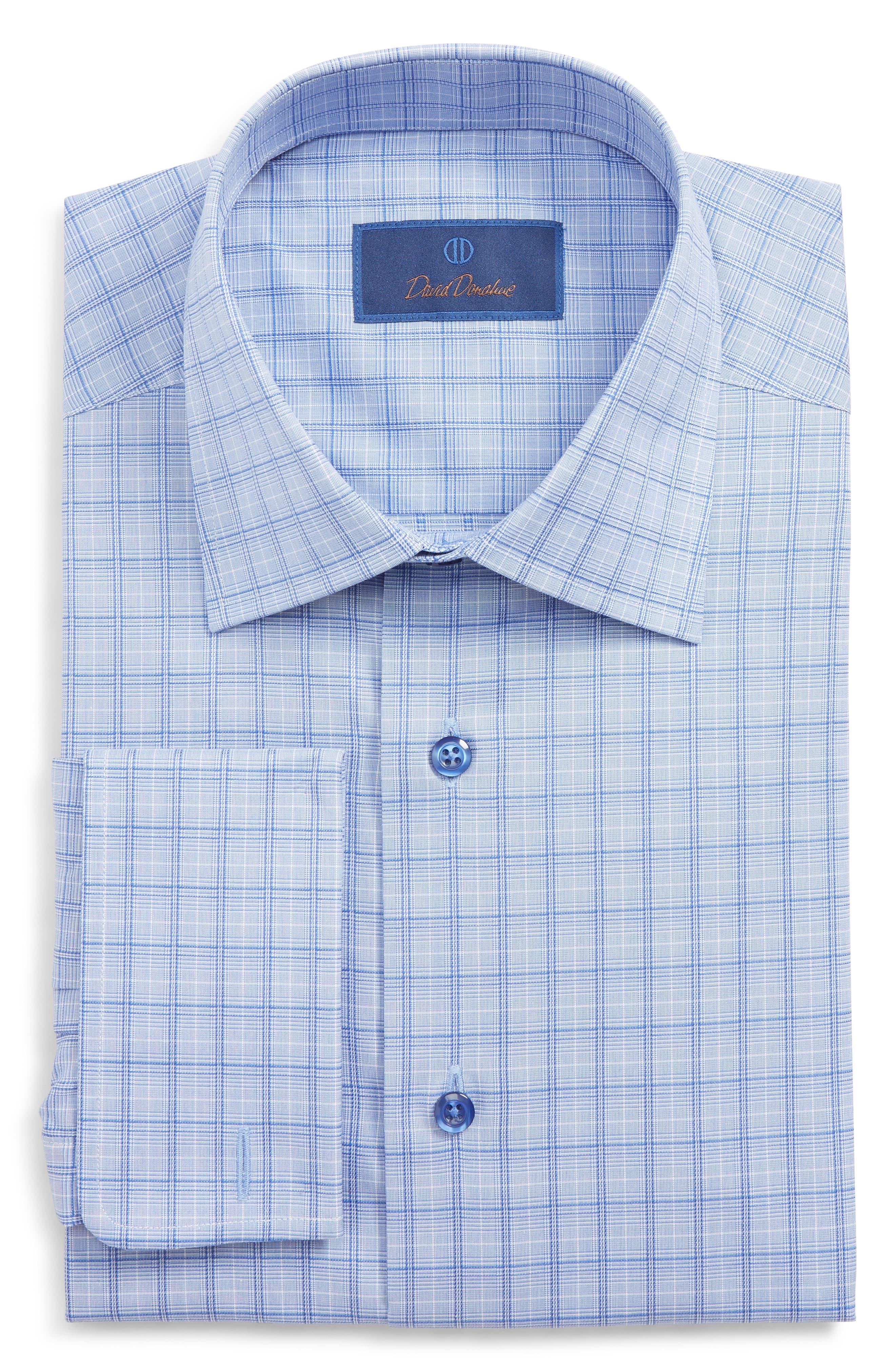 DAVID DONAHUE Regular Fit Plaid Dress Shirt, Main, color, BLUE/ NAVY