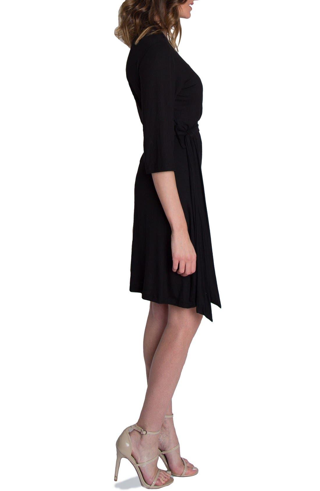 UDDERLY HOT MAMA, 'Whimsical' Nursing Wrap Dress, Alternate thumbnail 3, color, BLACK