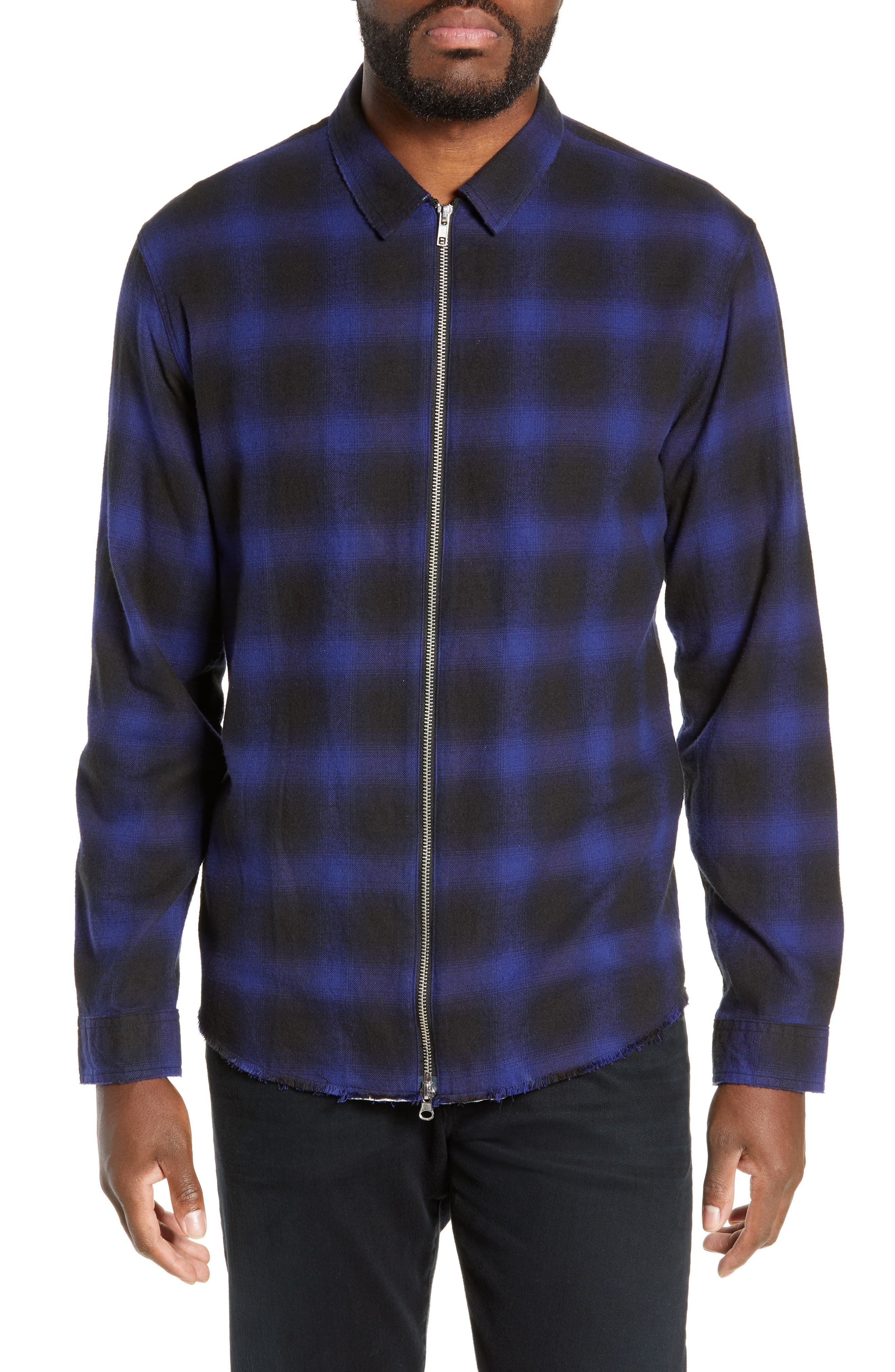 THE KOOPLES, Zip Flannel Jacket, Main thumbnail 1, color, BLUE BLACK