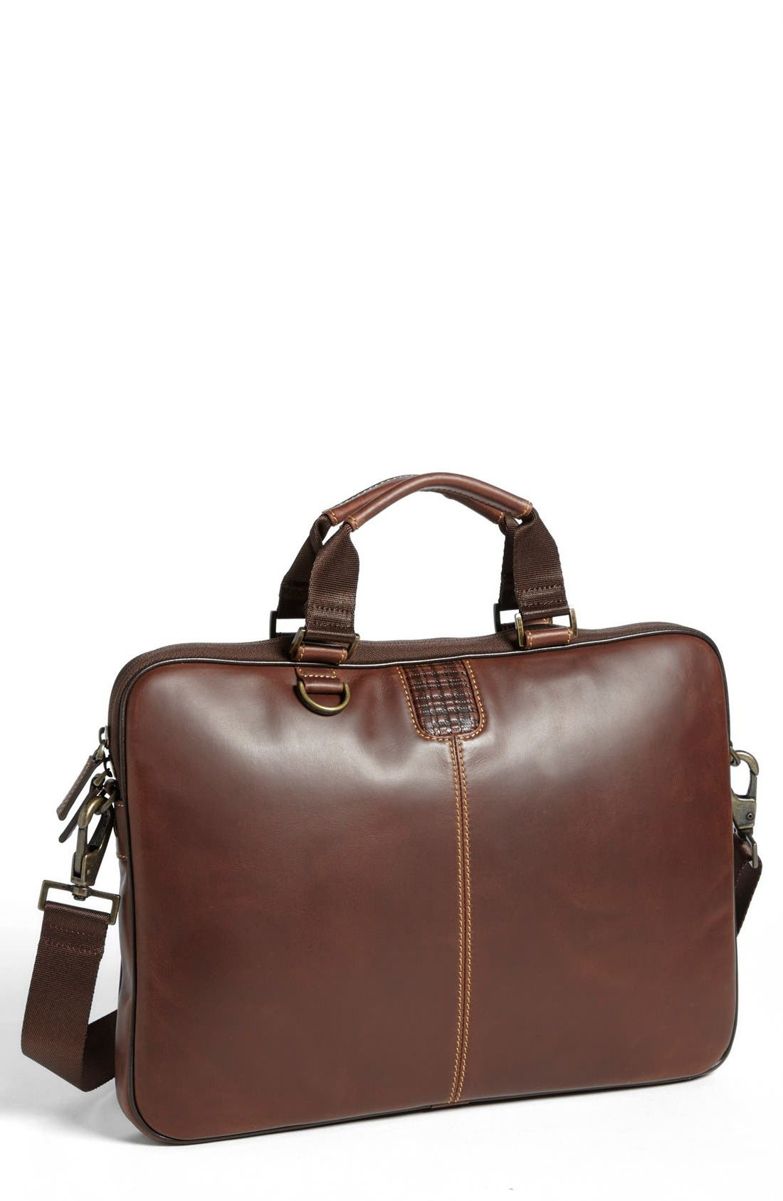 BOCONI 'Bryant' Slim Leather Laptop Briefcase, Main, color, ANTIQUE MAHOGANY/ HOUNDSTOOTH