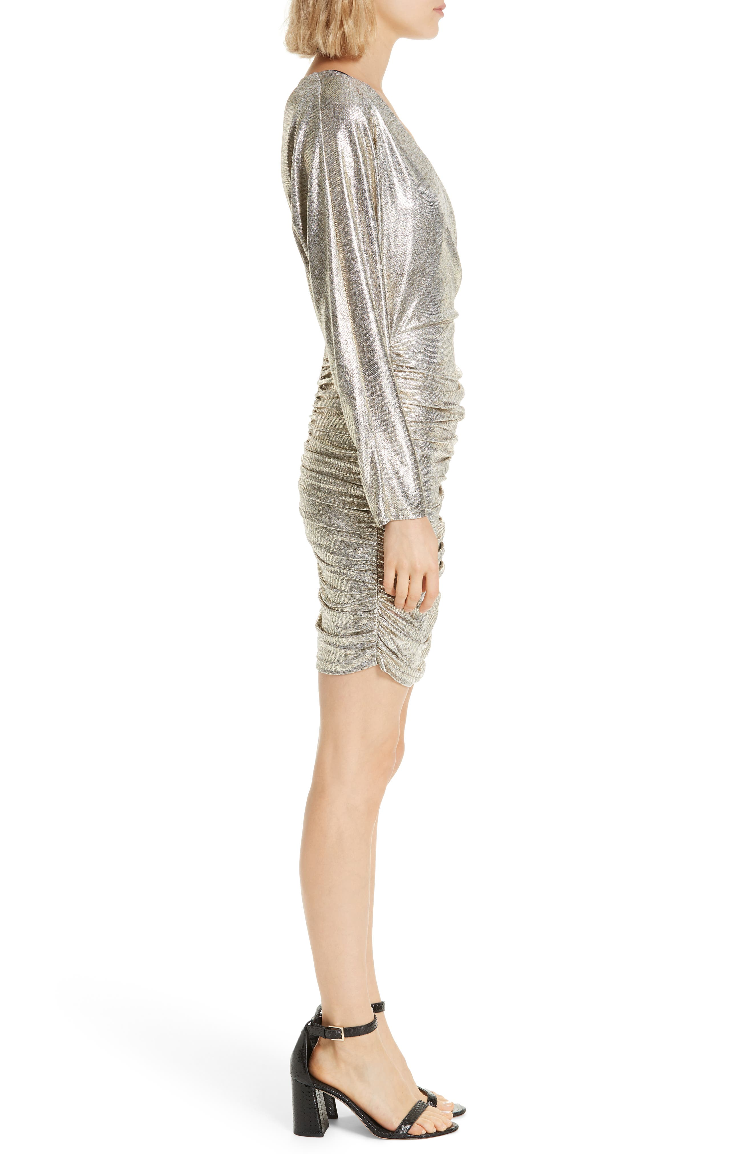 ALICE + OLIVIA, Pace Batwing Sleeve Party Dress, Alternate thumbnail 4, color, SILVER