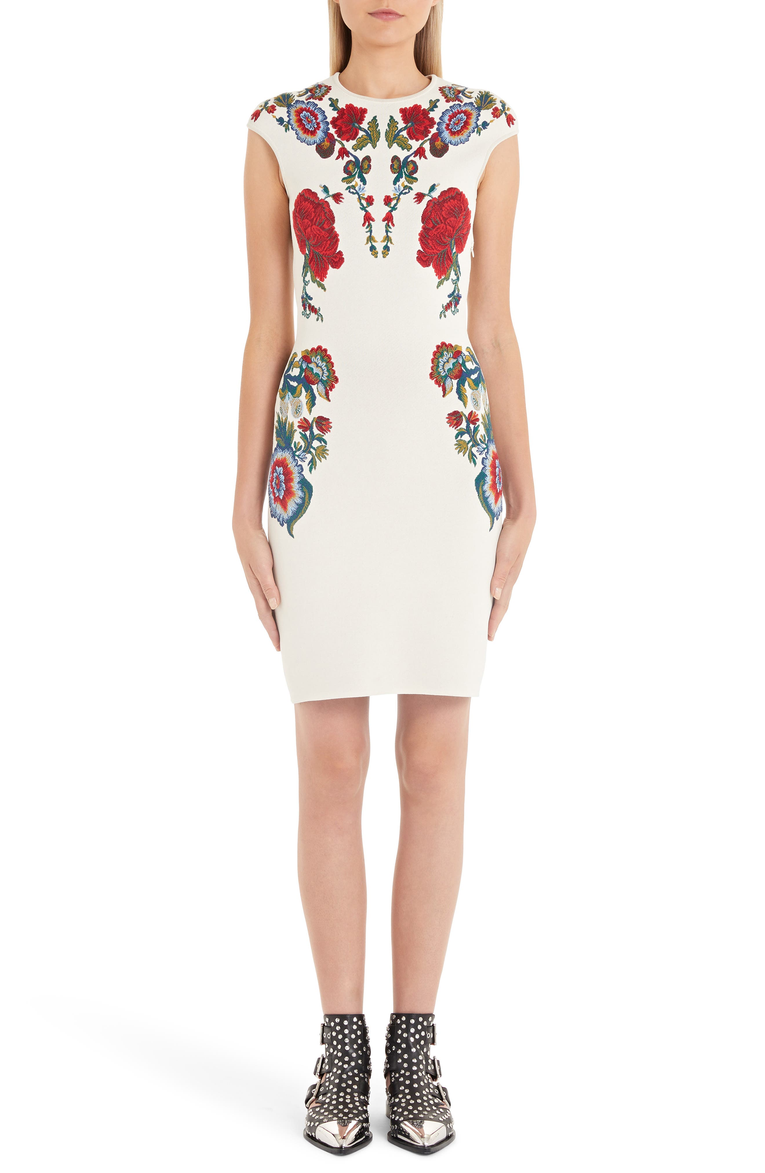 Alexander Mcqueen Floral Jacquard Body-Con Sweater Dress, Ivory