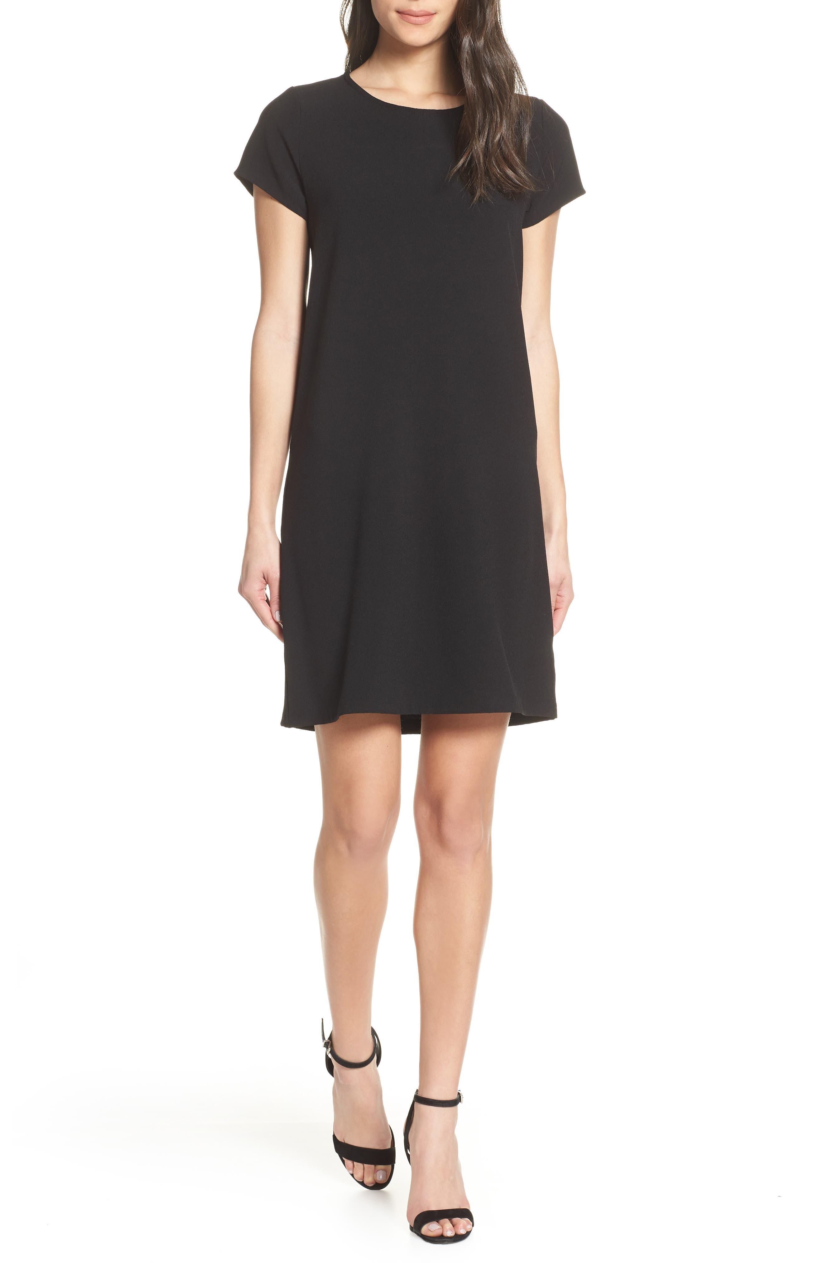 CHELSEA28, Crepe Shift Dress, Main thumbnail 1, color, BLACK