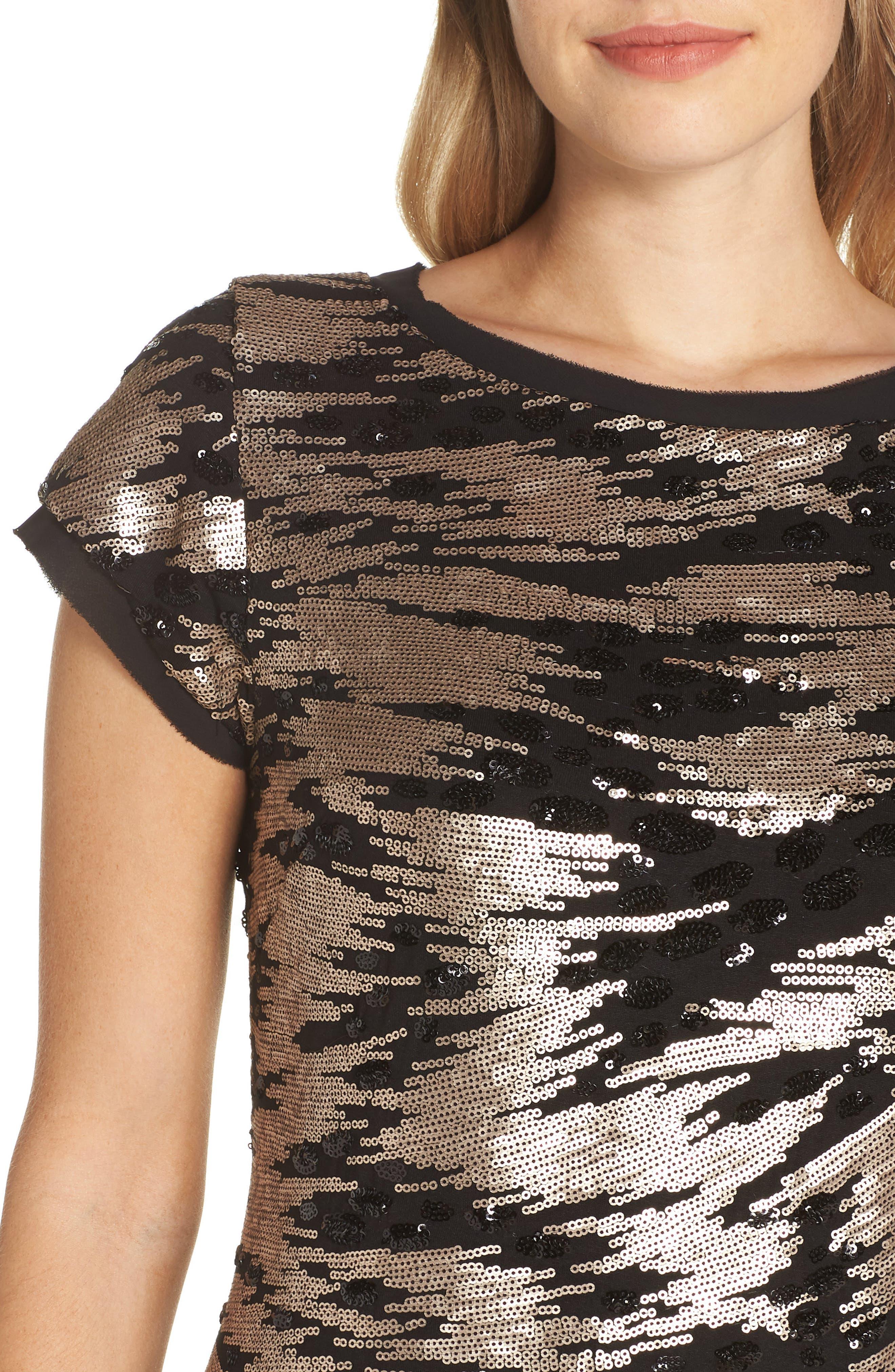 ELIZA J, Sequin Sheath Dress, Alternate thumbnail 5, color, BLACK/ GOLD