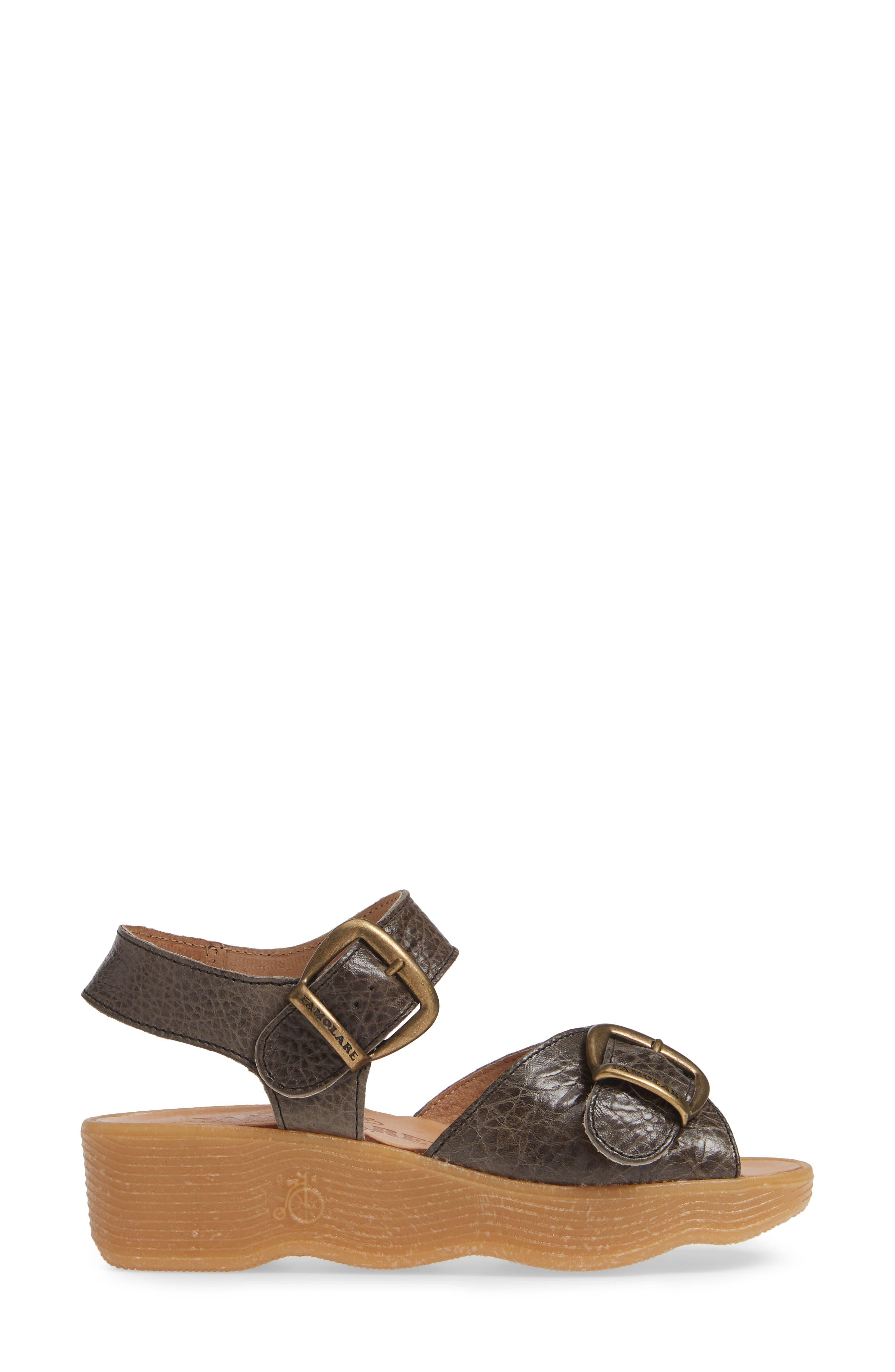 FAMOLARE, Double Play Platform Sandal, Alternate thumbnail 3, color, STEEL SUEDE