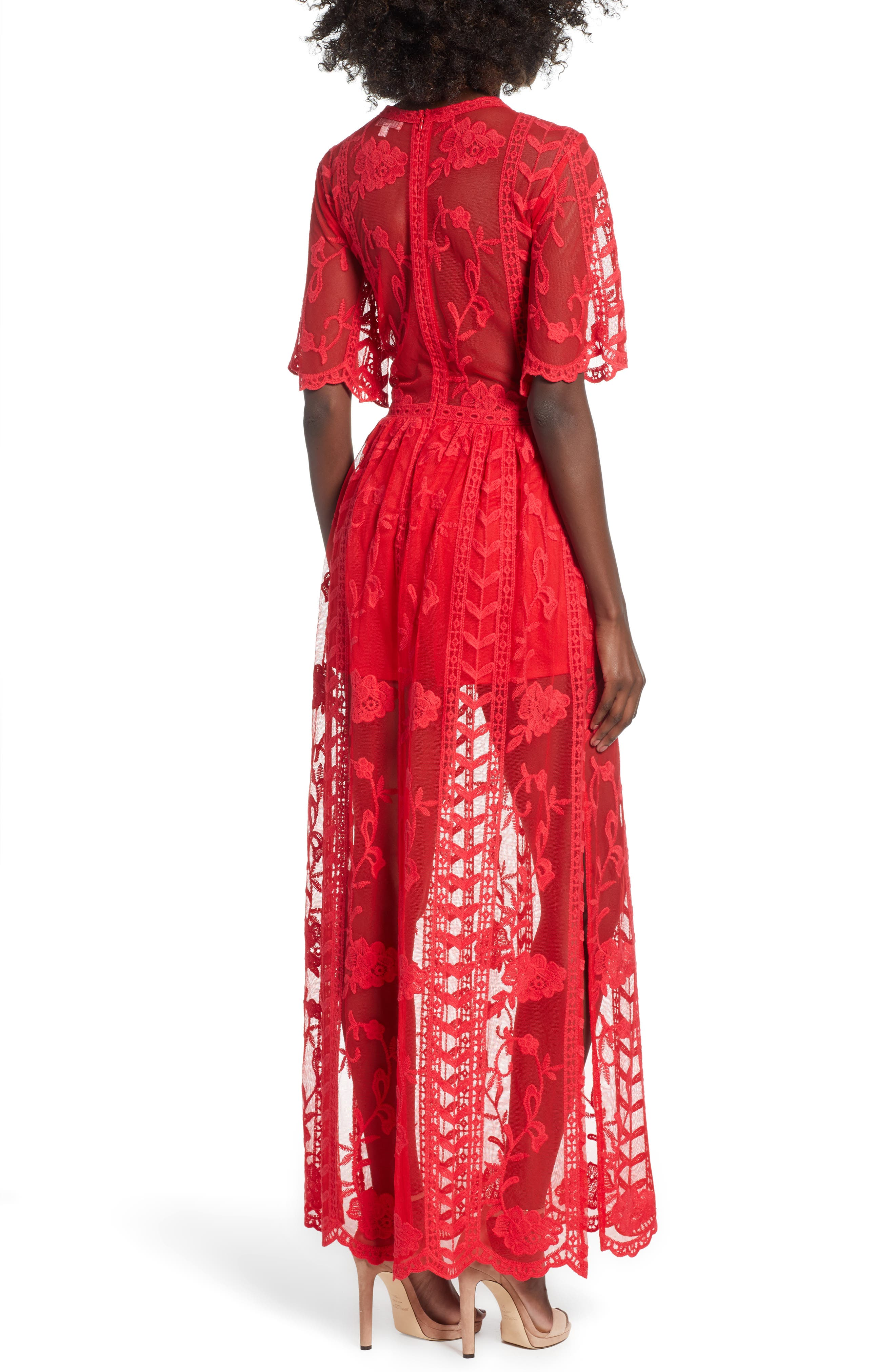 SOCIALITE, Lace Overlay Romper, Alternate thumbnail 2, color, RED LIPSTICK