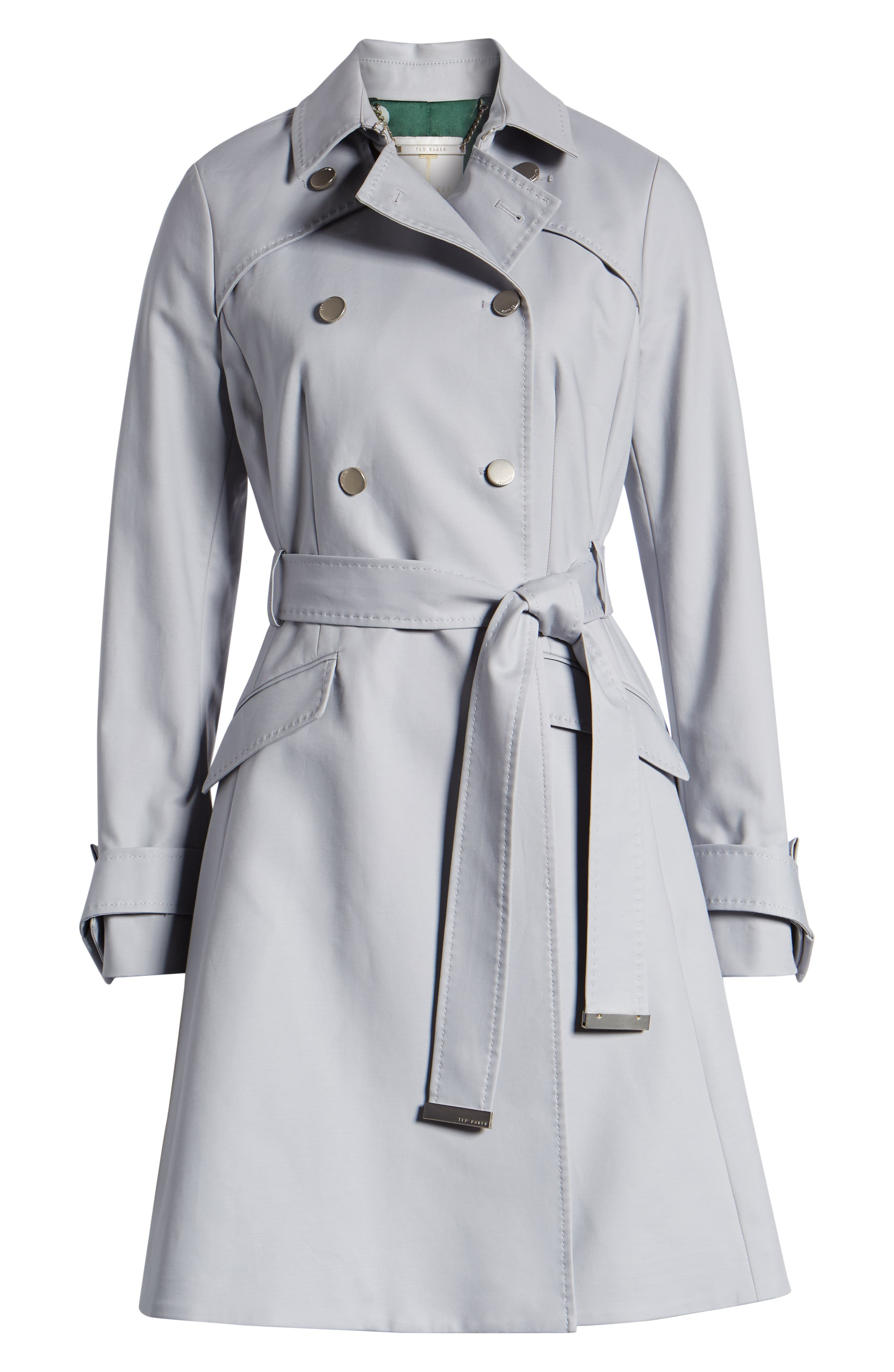 TED BAKER LONDON, Tie Cuff Detail Trench Coat, Alternate thumbnail 6, color, GREY