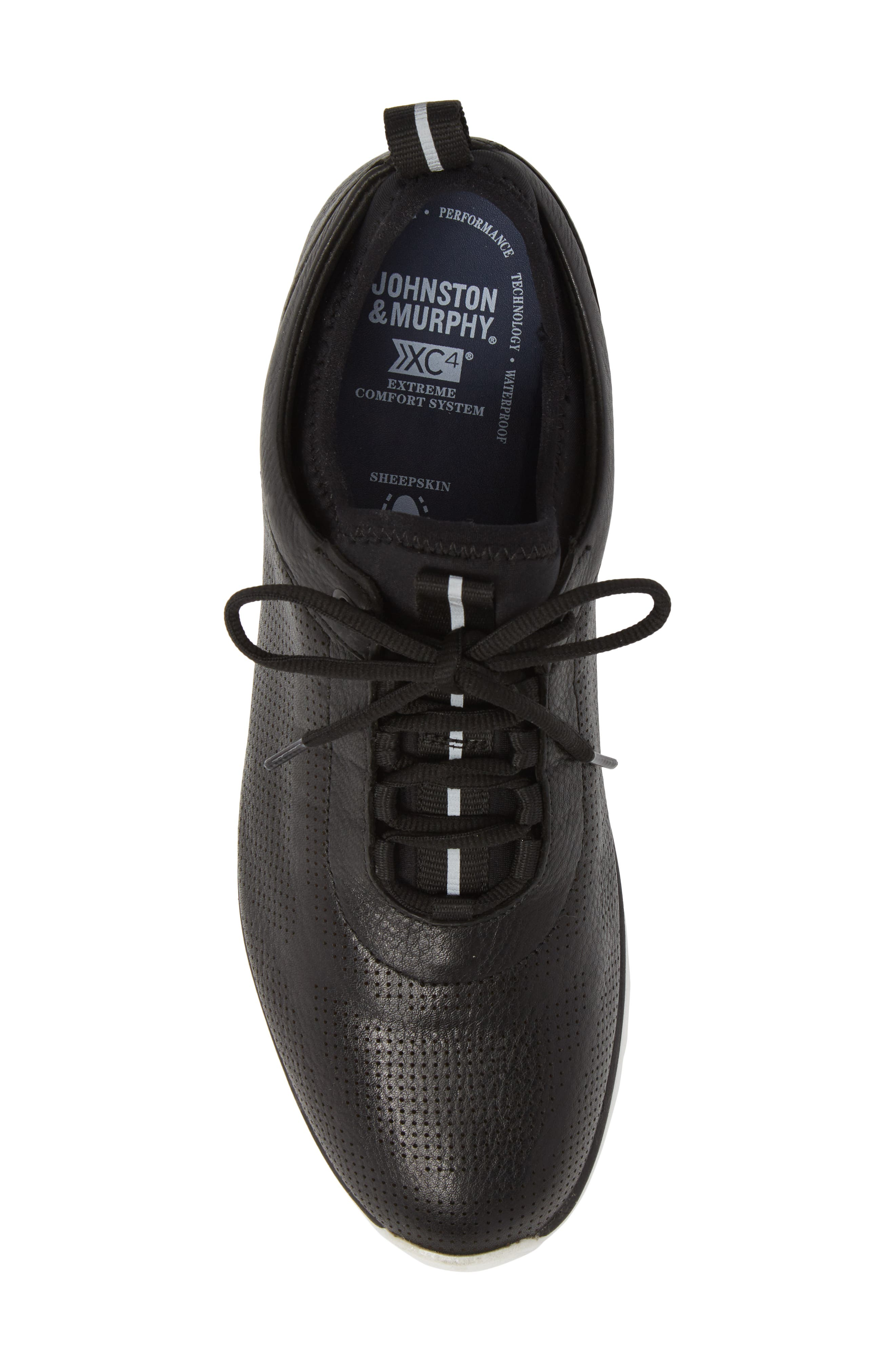 JOHNSTON & MURPHY, Prentiss XC4<sup>®</sup> Waterproof Sneaker, Alternate thumbnail 5, color, BLACK LEATHER