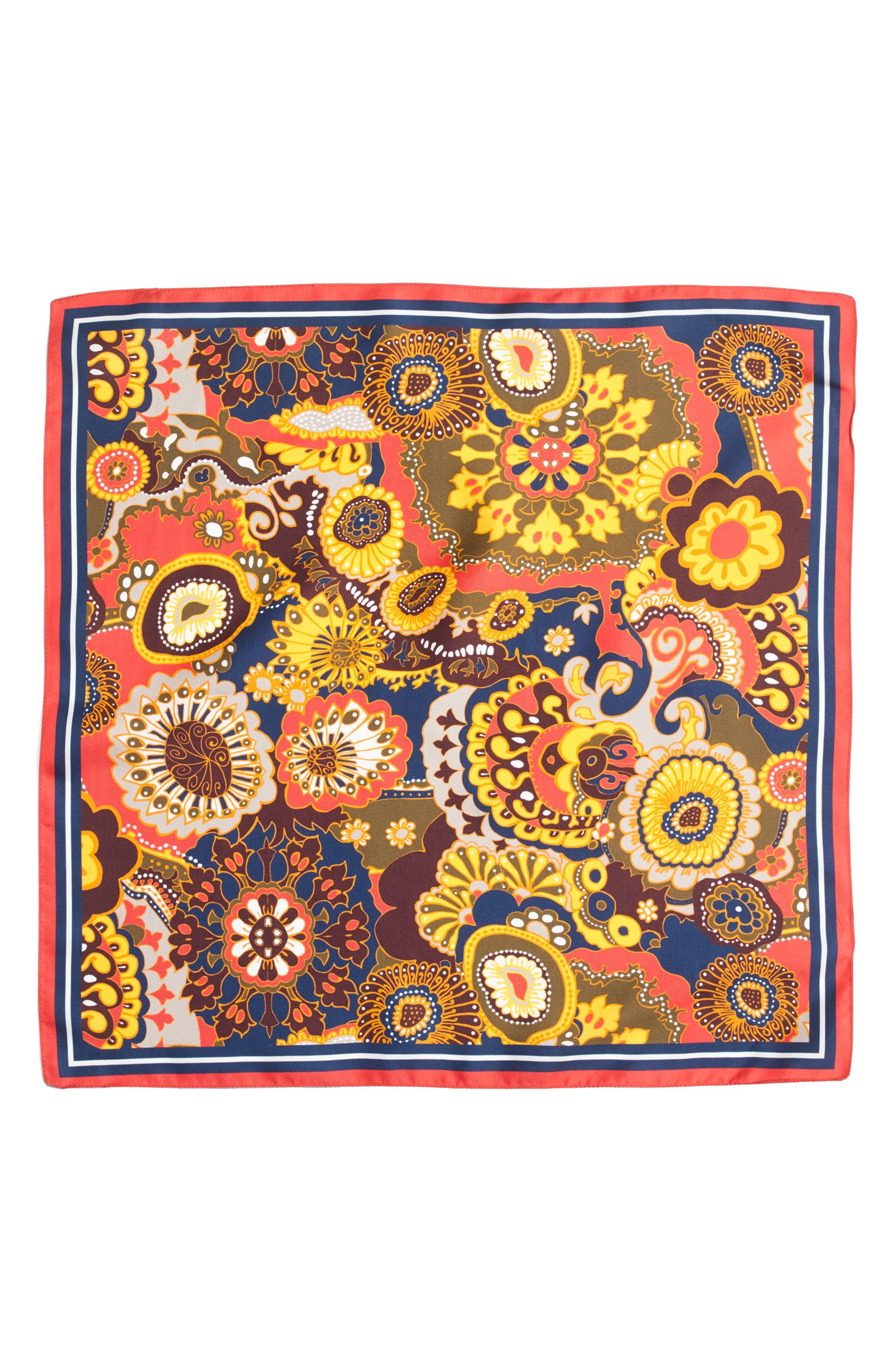 J.CREW, Fall Floral Silk Scarf, Alternate thumbnail 2, color, 600