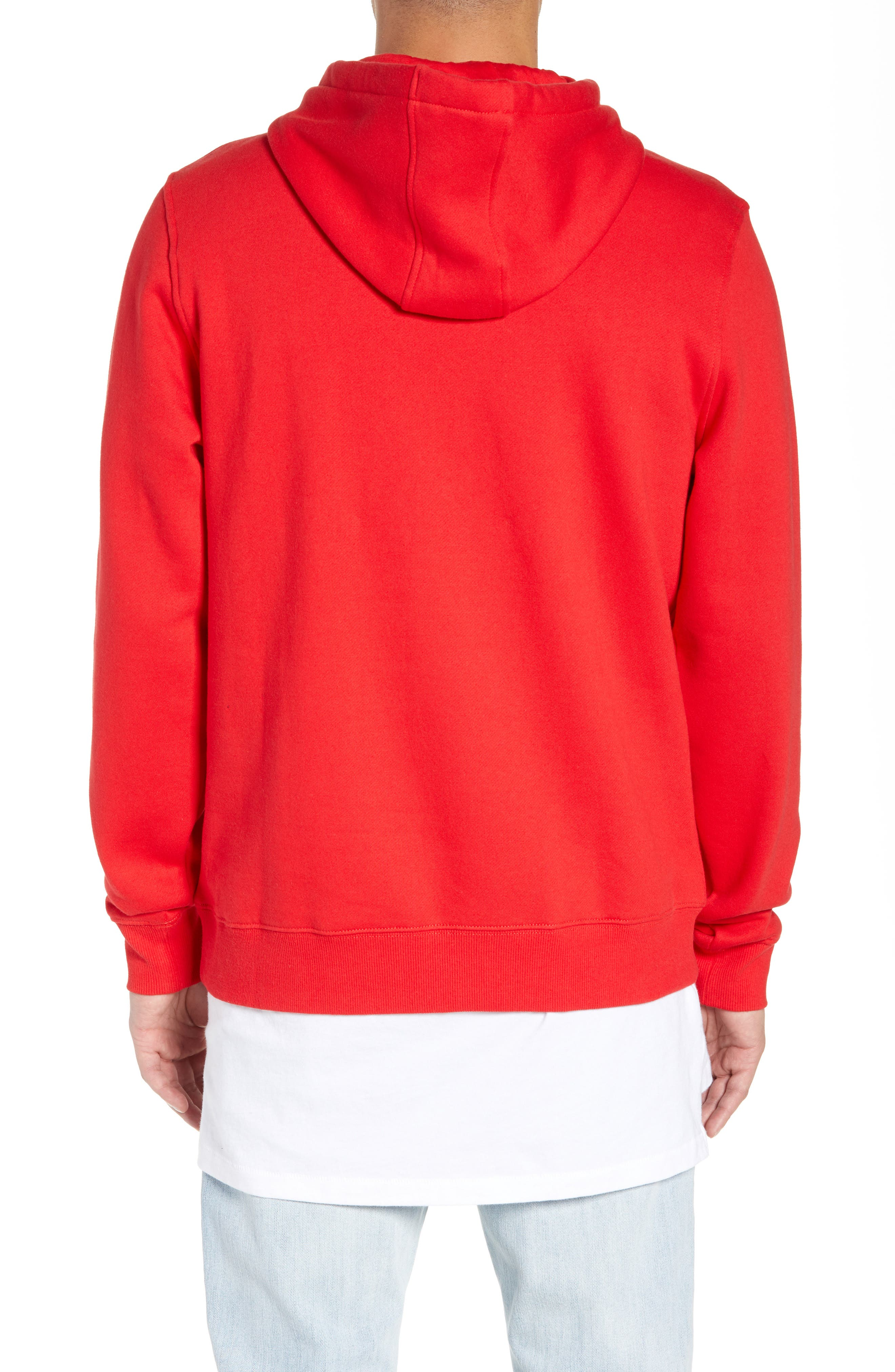 FILA, Logo Graphic Hooded Sweatshirt, Alternate thumbnail 2, color, CHINESE RED/ WHITE/ NAVY