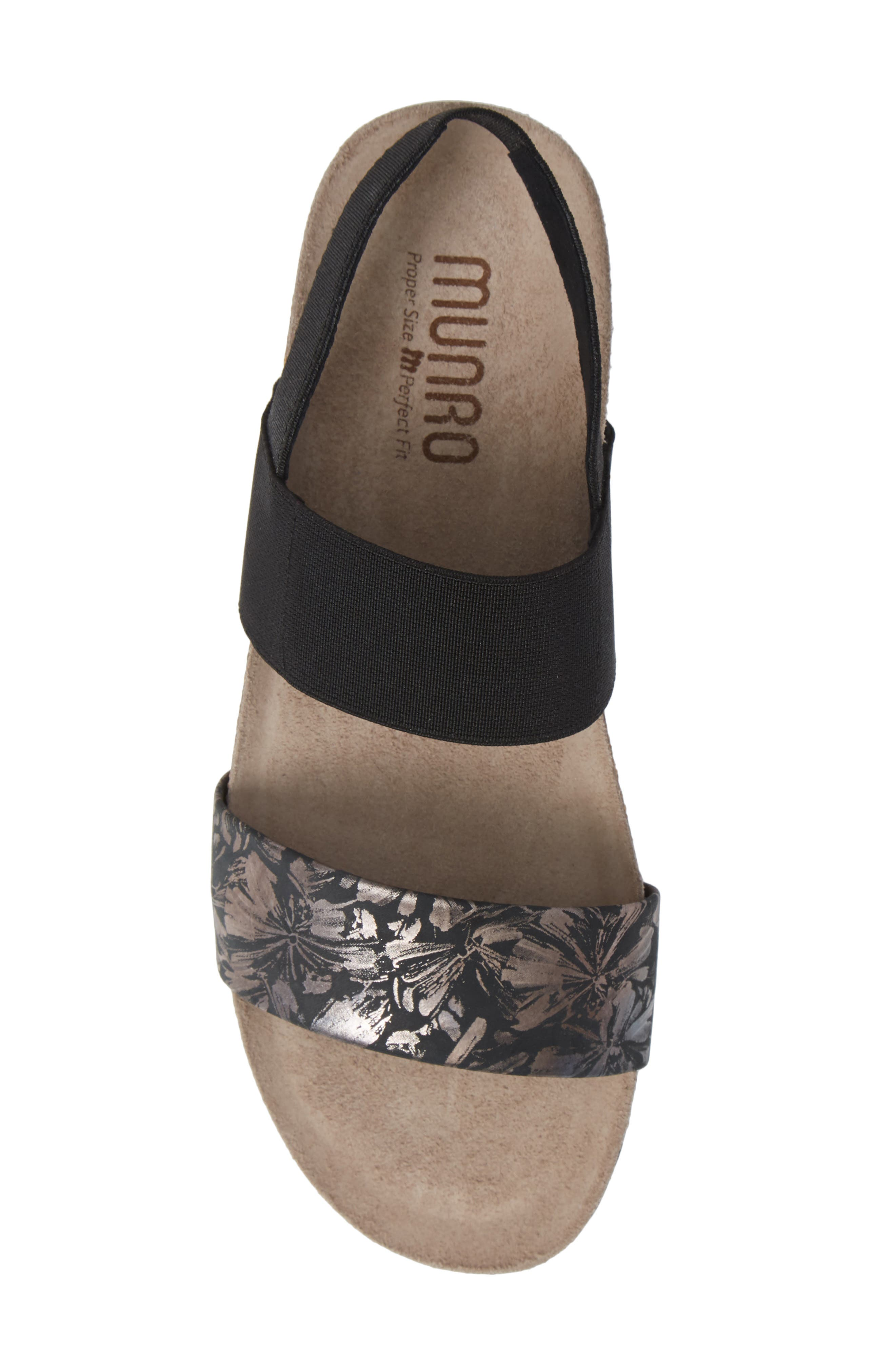 MUNRO, 'Pisces' Sandal, Alternate thumbnail 5, color, DARK FLORAL PRINT LEATHER