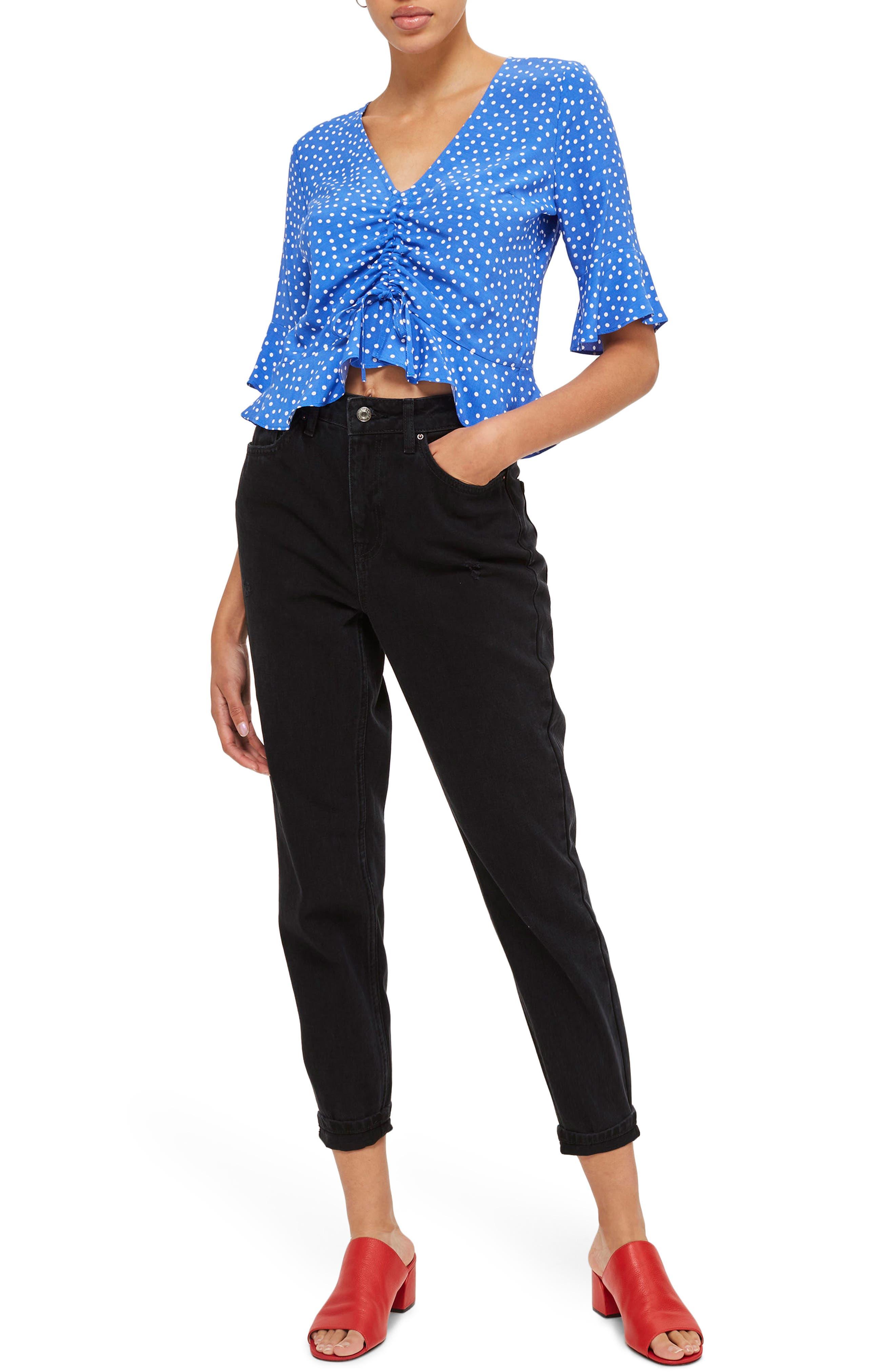 TOPSHOP Black Mom Jeans, Main, color, BLACK