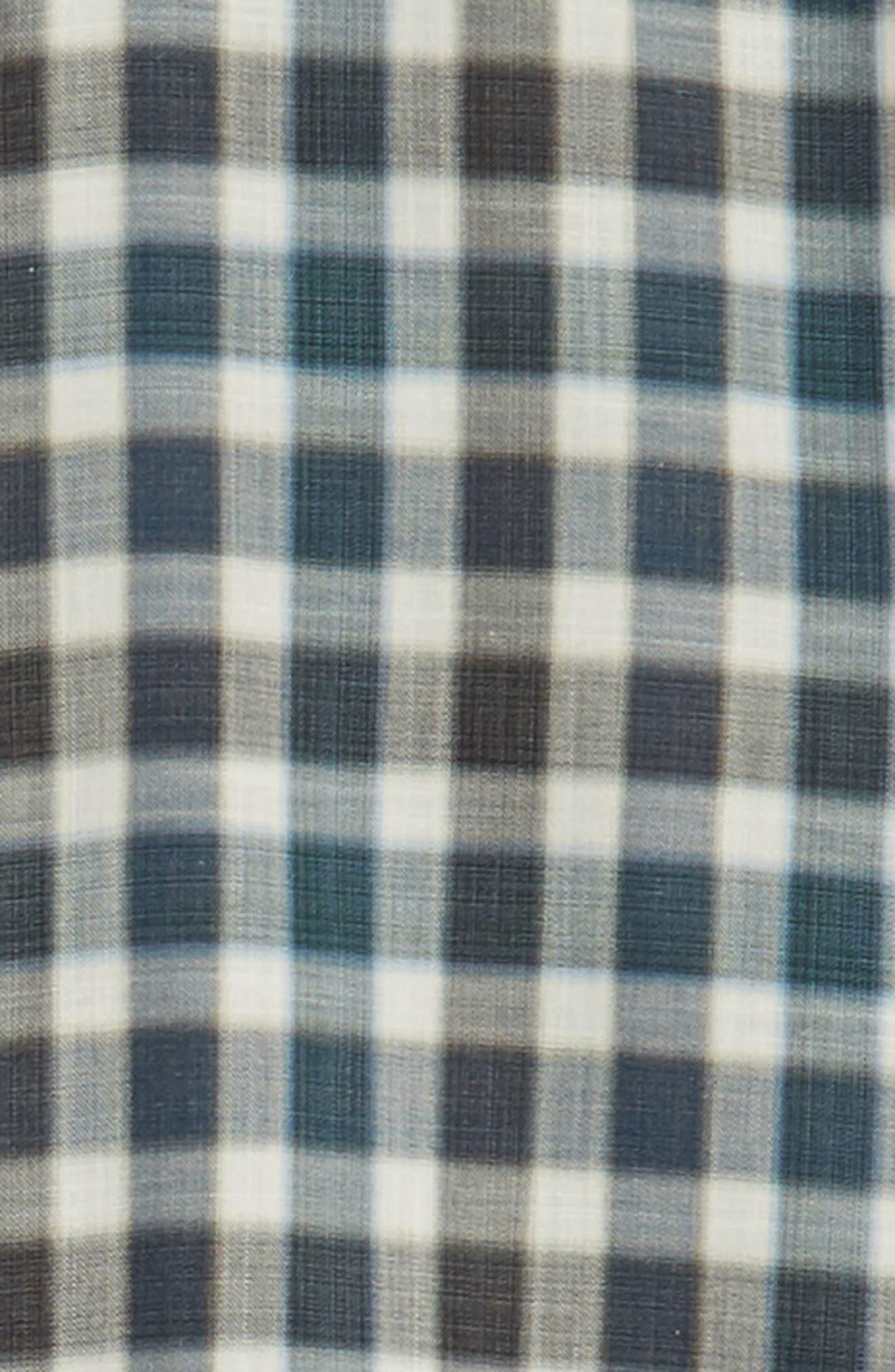 ZACHARY PRELL, Buffa Regular Fit Plaid Flannel Sport Shirt, Alternate thumbnail 6, color, DARK TEAL
