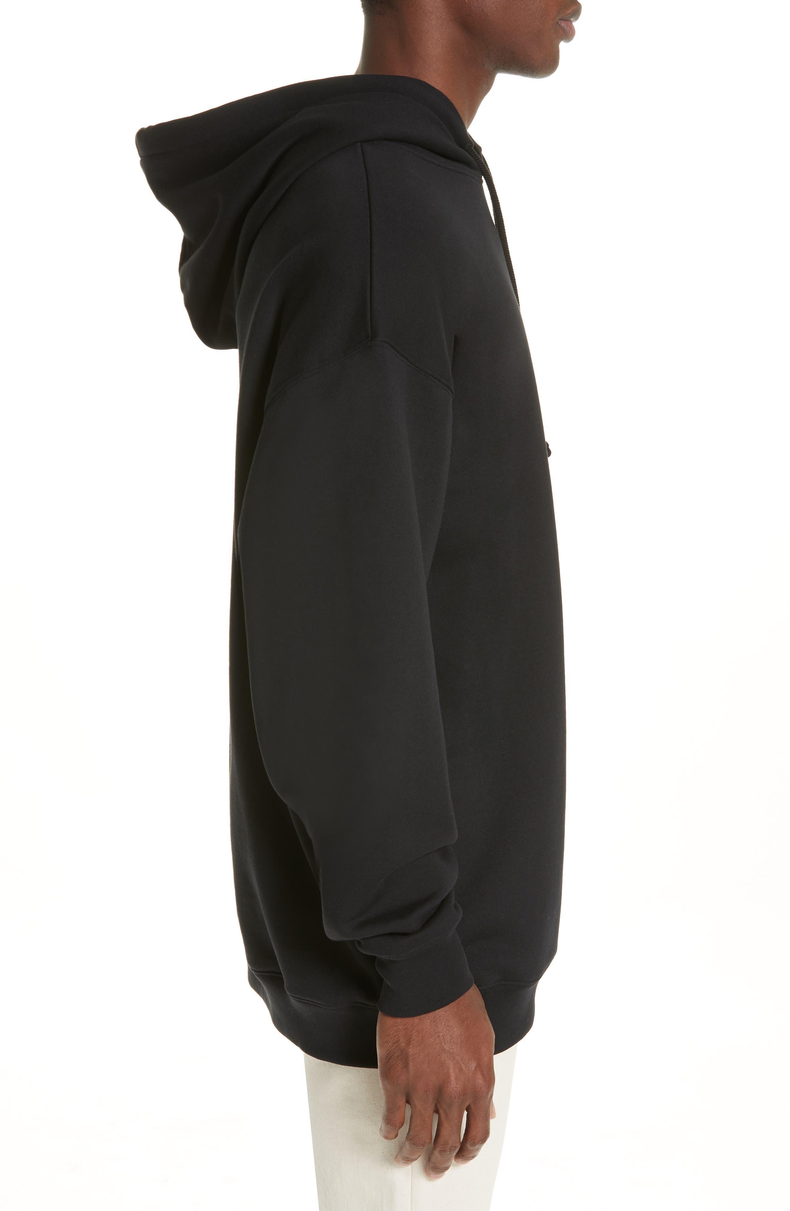 ACNE STUDIOS, Farrin Face Hooded Sweatshirt, Alternate thumbnail 3, color, BLACK
